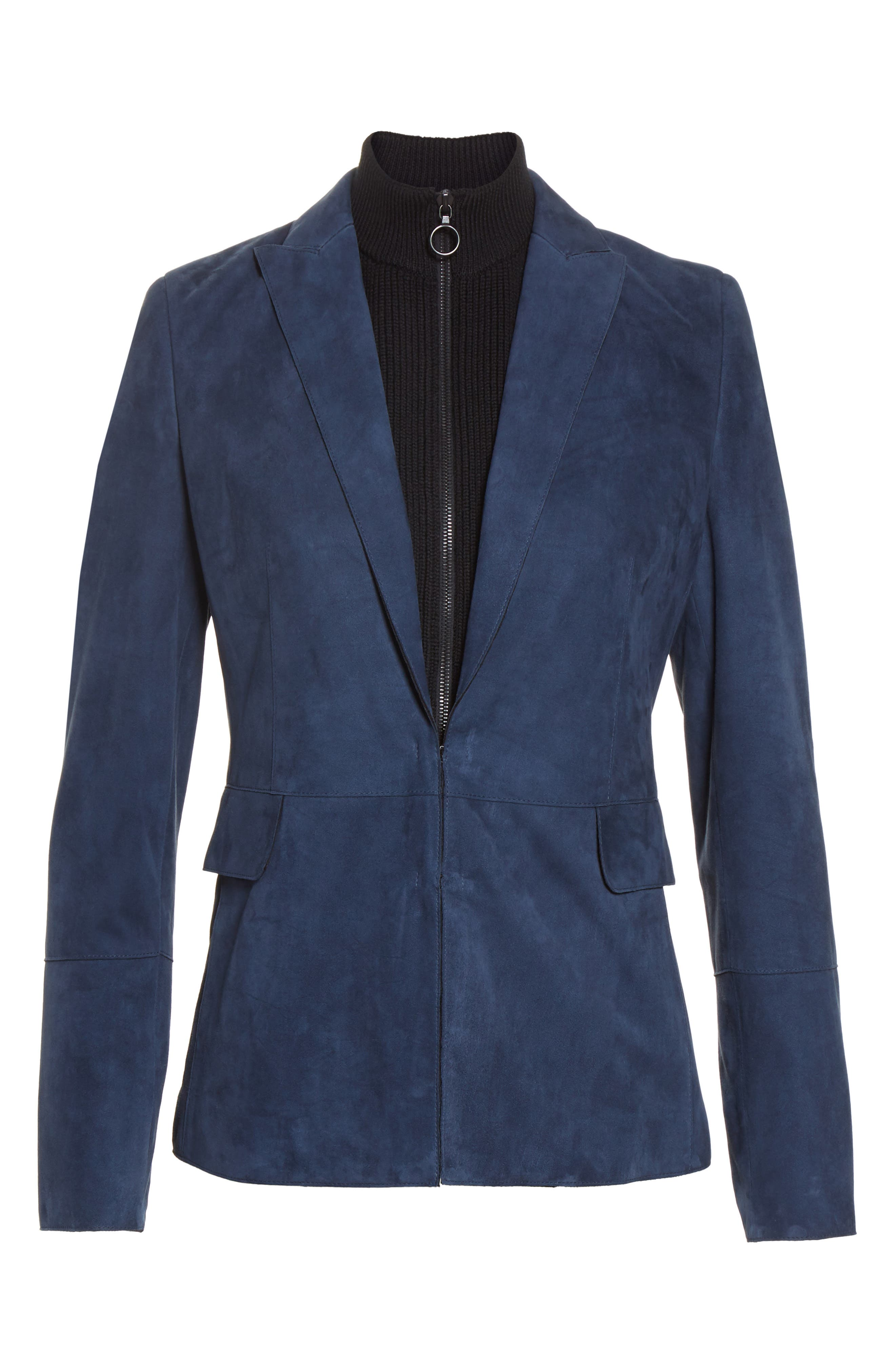 Suede Blazer with Removable Knit Insert,                             Alternate thumbnail 3, color,                             Solid Blue Denim