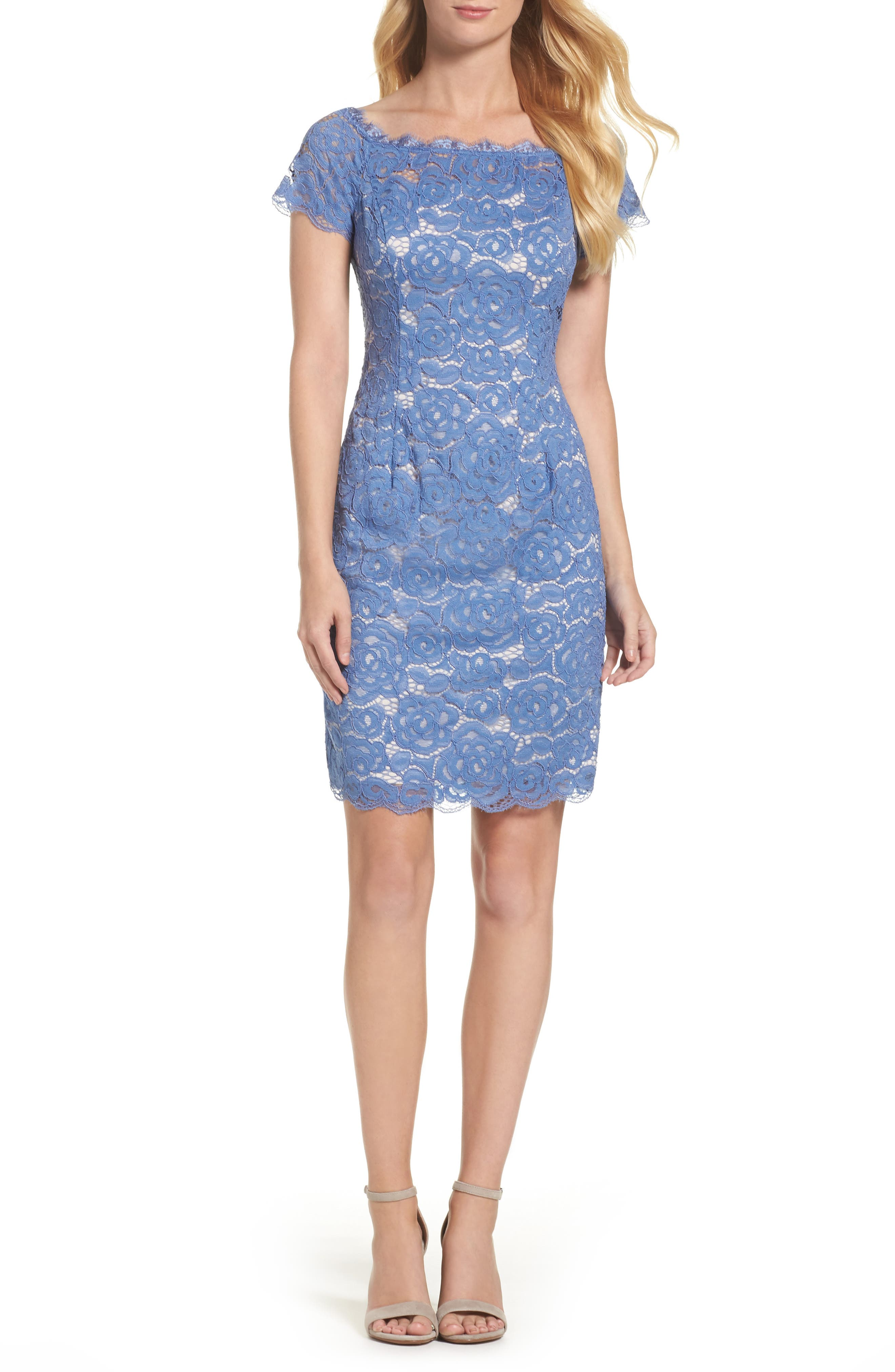 Main Image - Adrianna Papell Off the Shoulder Lace Sheath Dress (Regular & Petite)