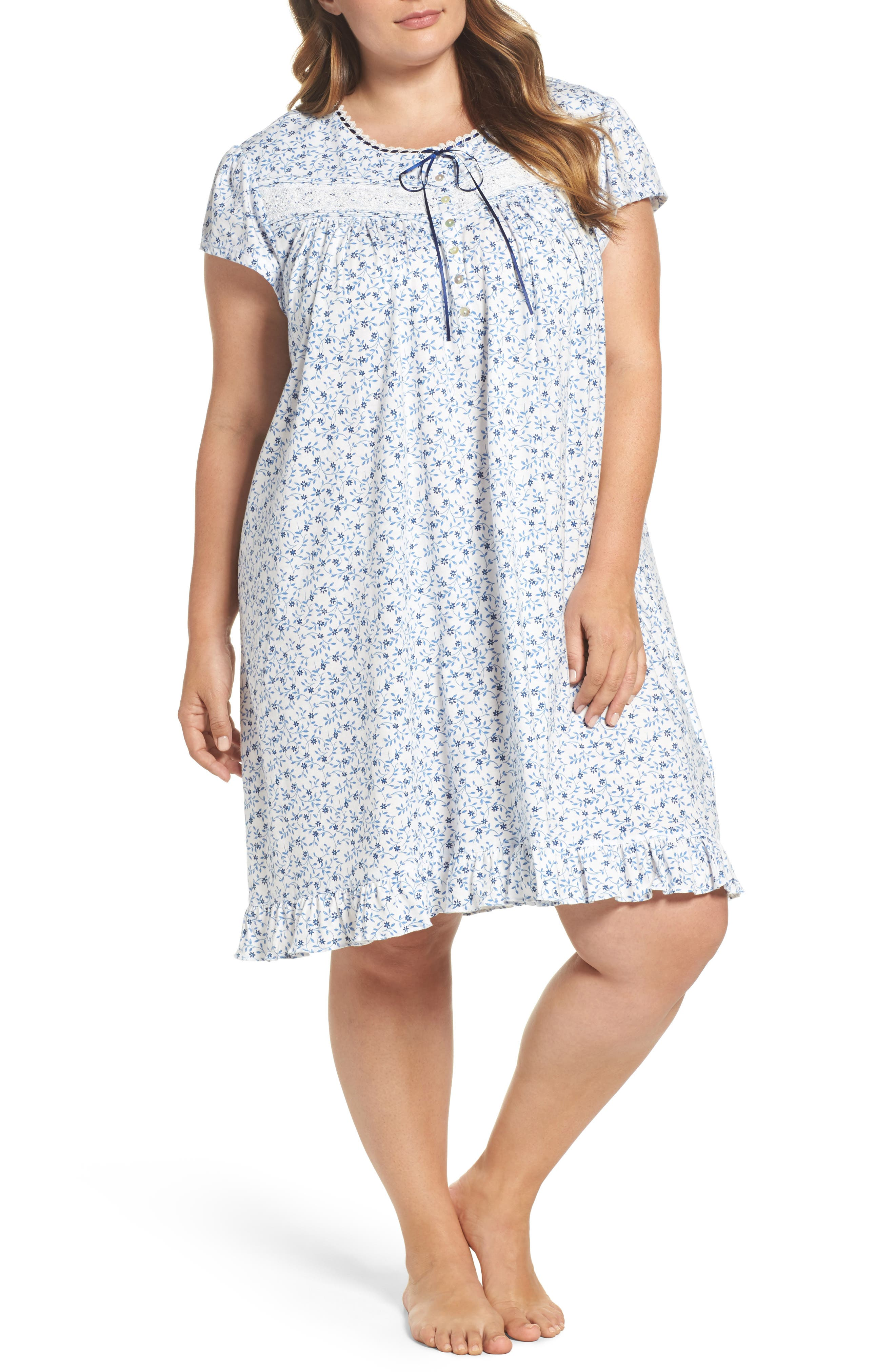 Short Nightgown,                             Main thumbnail 1, color,                             Blue