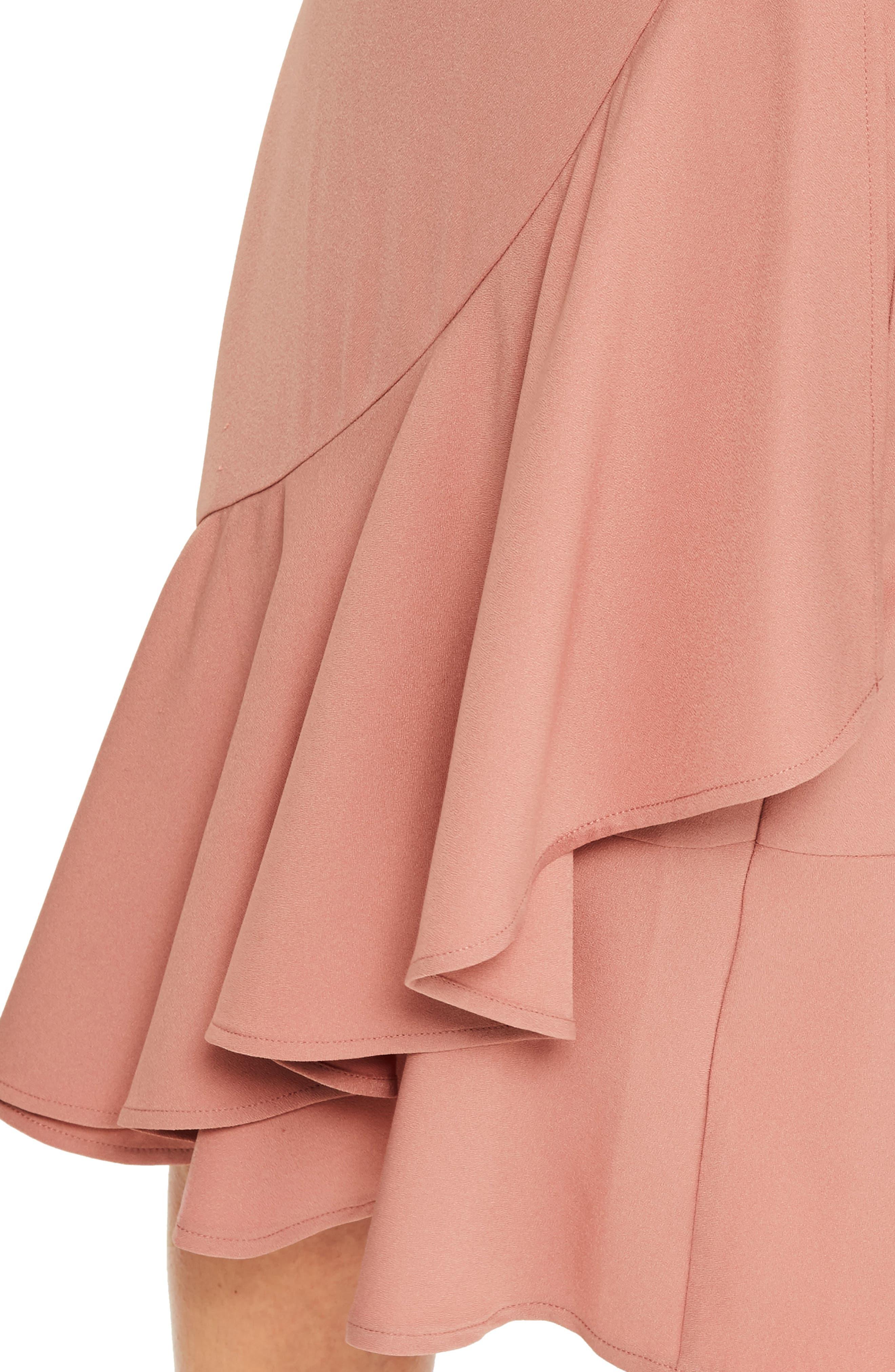 Plunge Ruffle Body-Con Dress,                             Alternate thumbnail 4, color,                             Rose