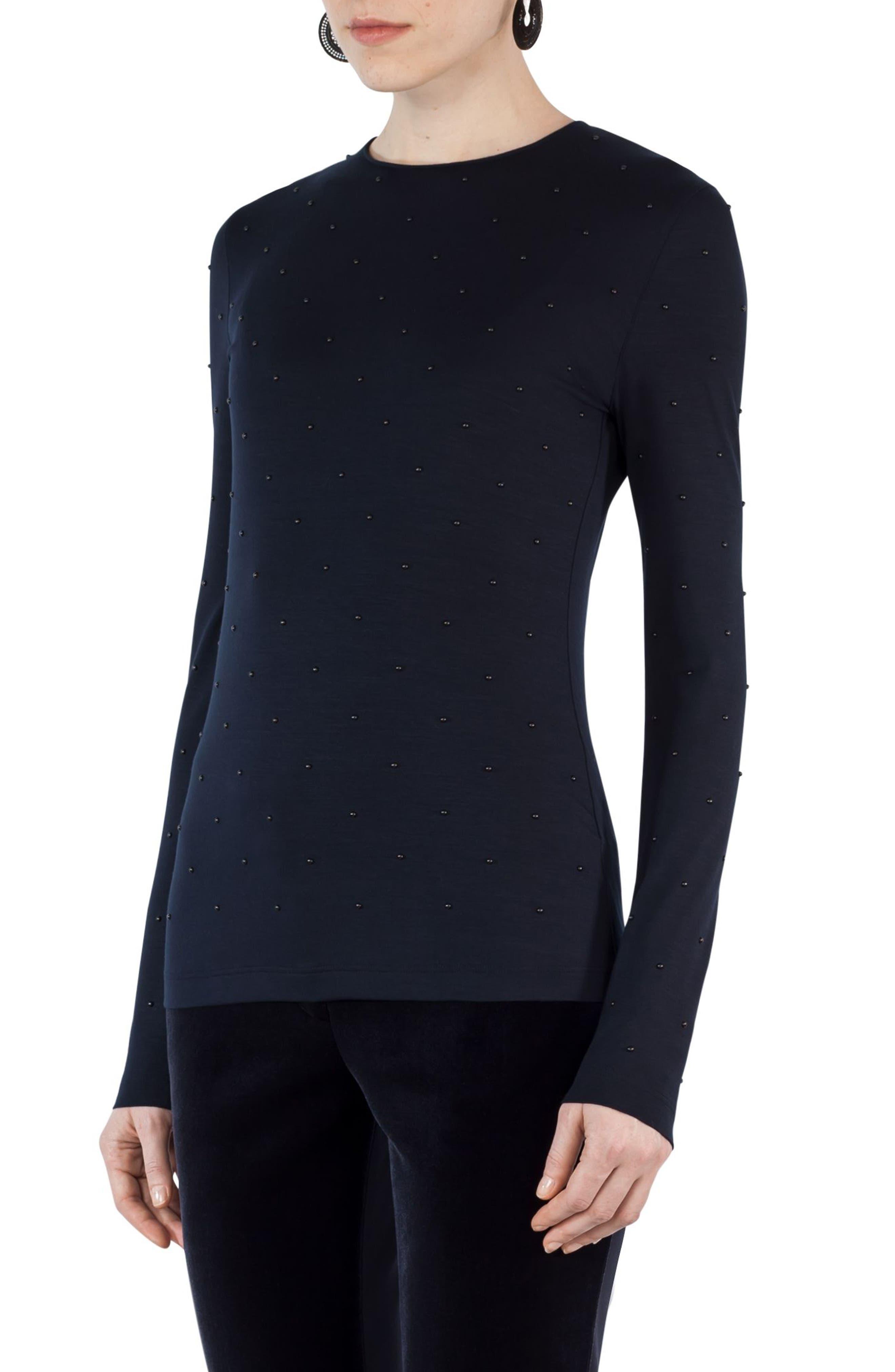 Main Image - Akris punto Studded Jersey Shirt
