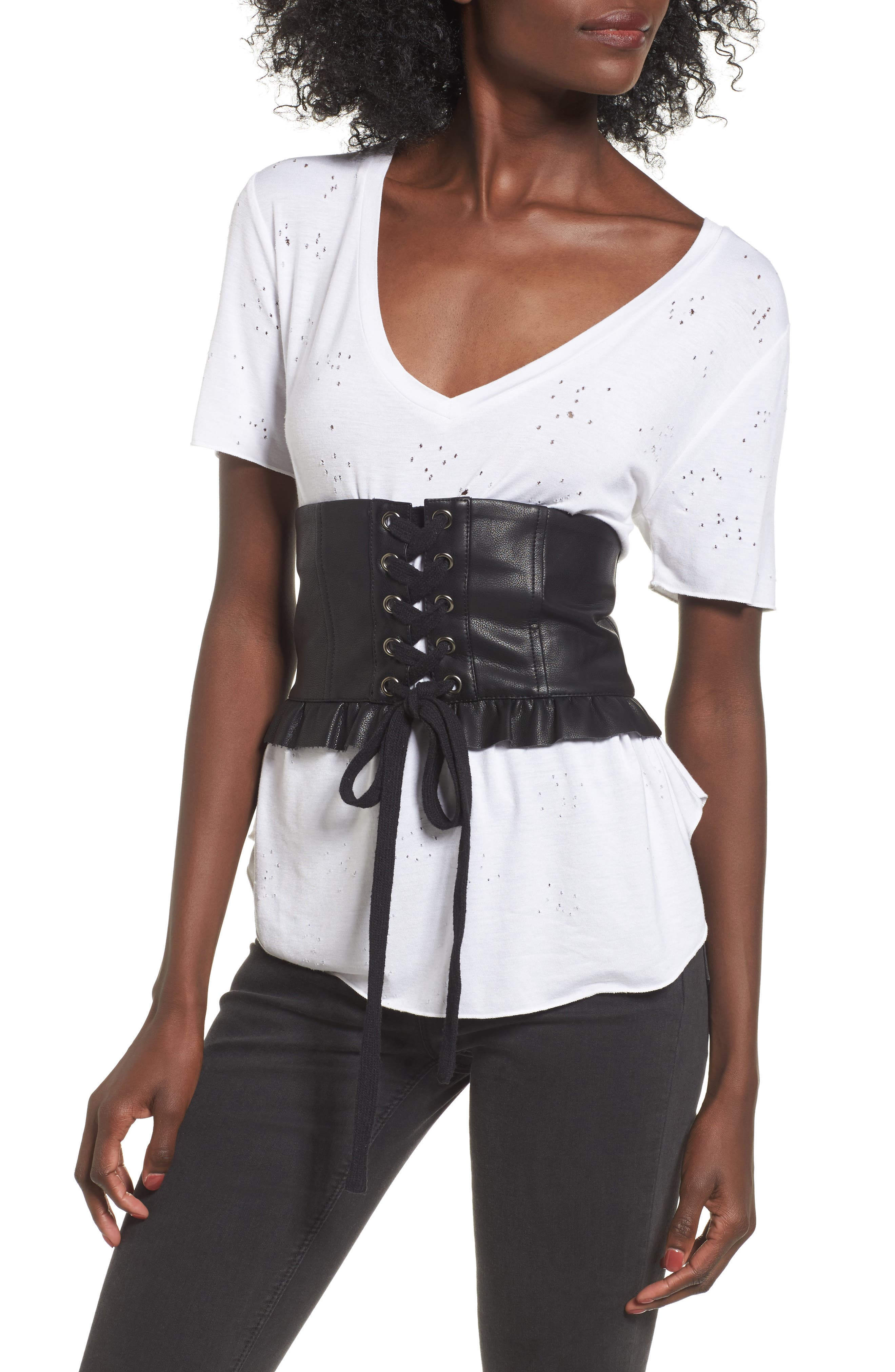 Alternate Image 1 Selected - J.O.A. Faux Leather Corset