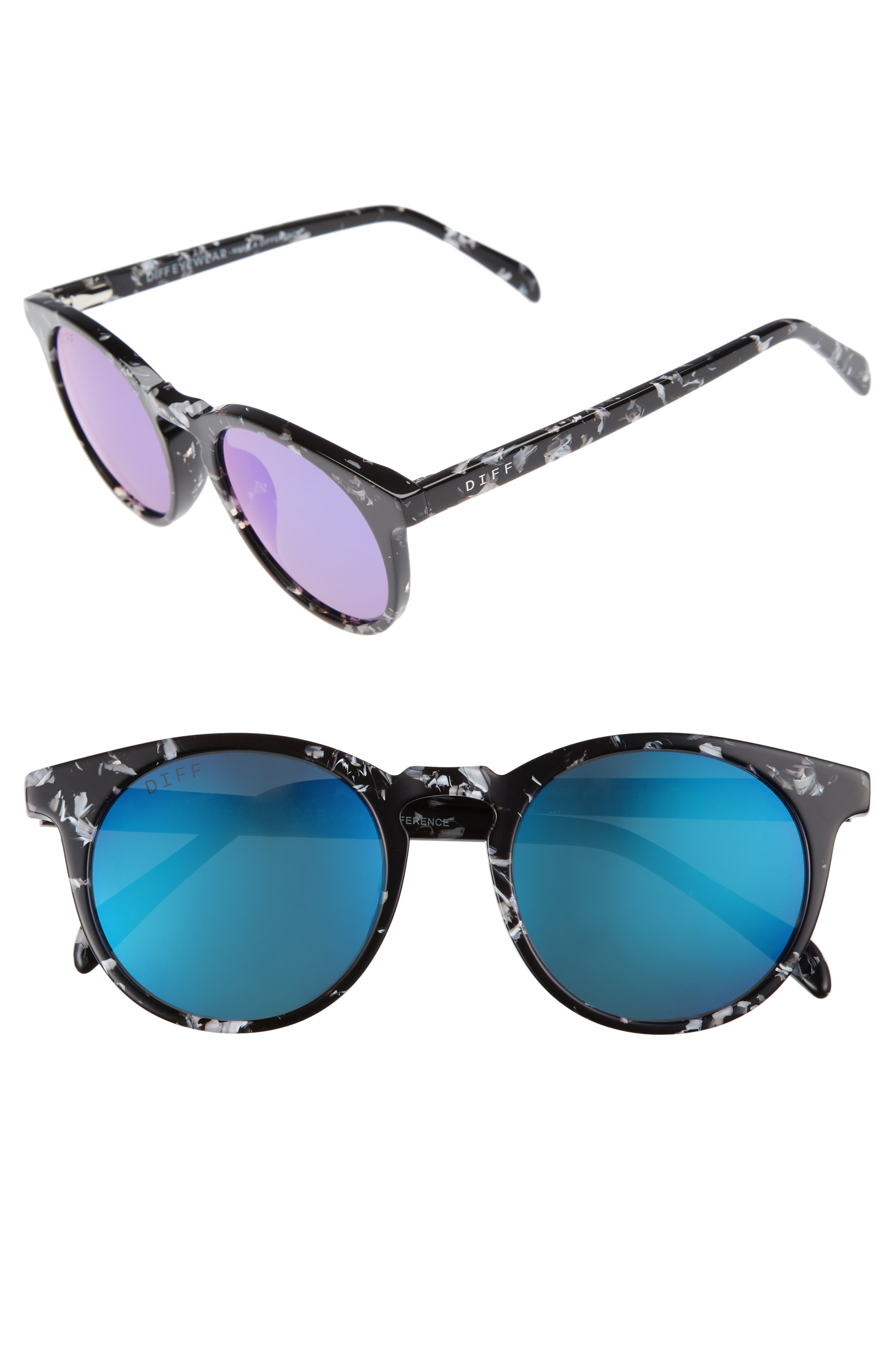 DIFF Charlie 48mm Mirrored Polarized Round Retro Sunglasses