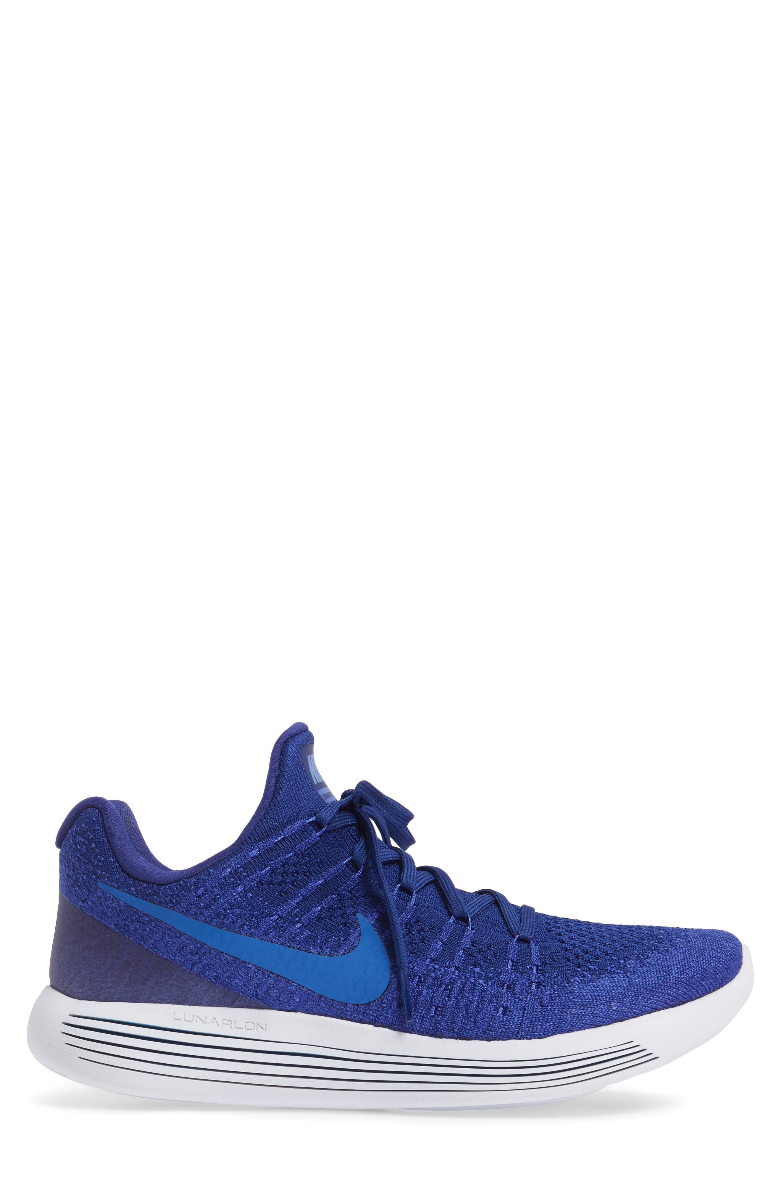 Flyknit 2 LunarEpic Running Shoe,                             Alternate thumbnail 3, color,                             Royal Blue/ Blue