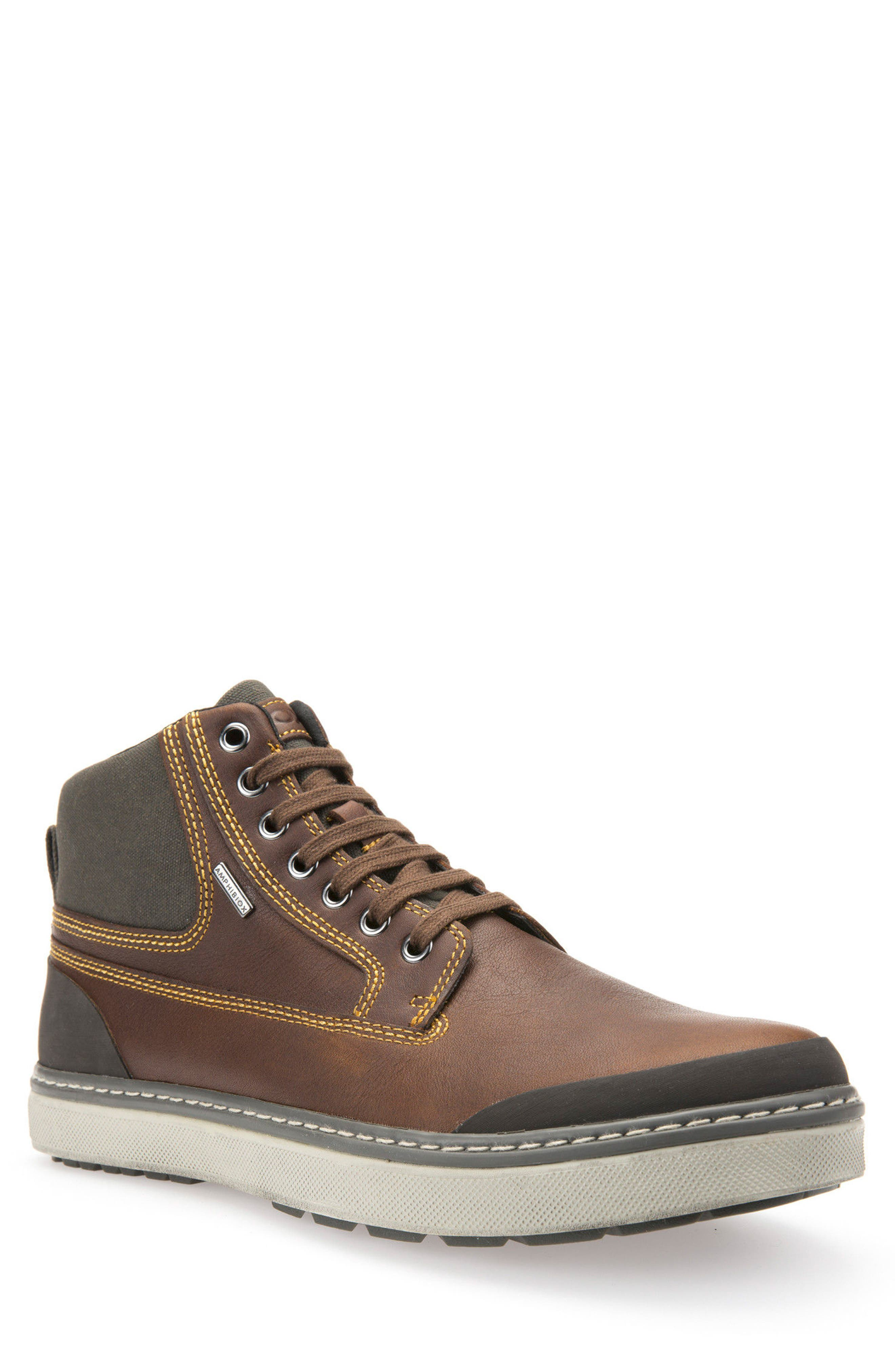Mattias Amphibiox Waterproof Leather Sneaker,                             Main thumbnail 1, color,                             Brown/ Brown