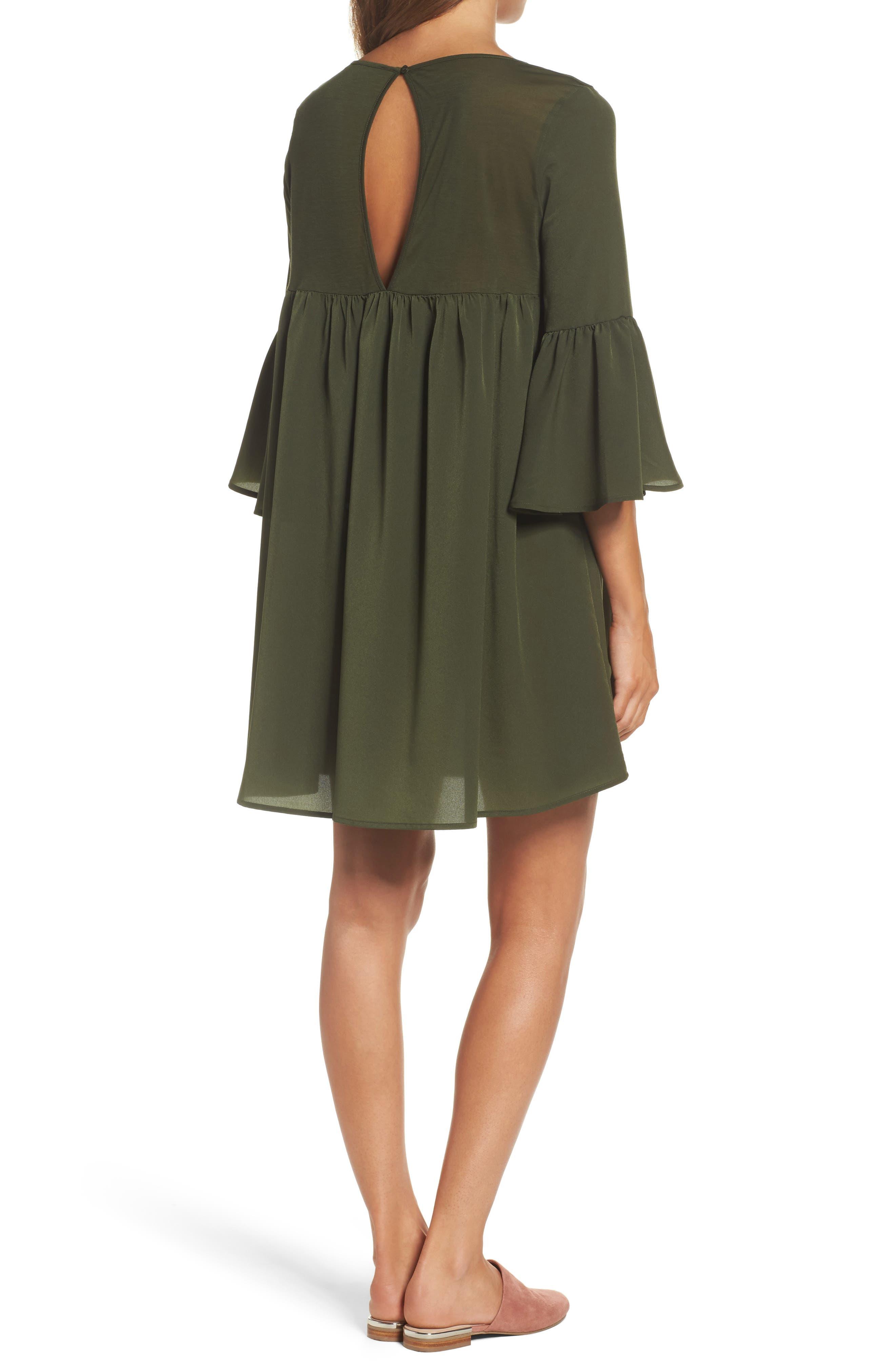 Polly Plains Shift Dress,                             Alternate thumbnail 2, color,                             Woodland Green