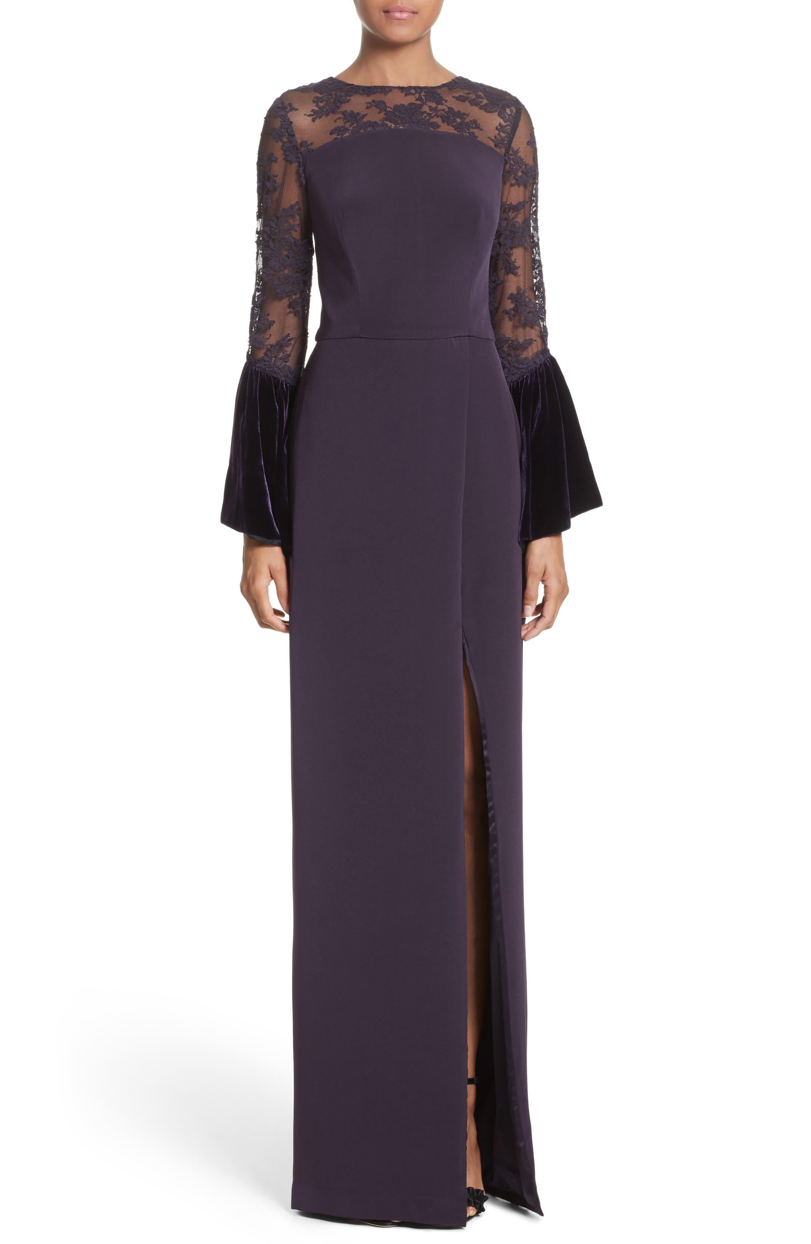 Lace & Velvet Trim Crepe Gown,                             Main thumbnail 1, color,                             Aubergine