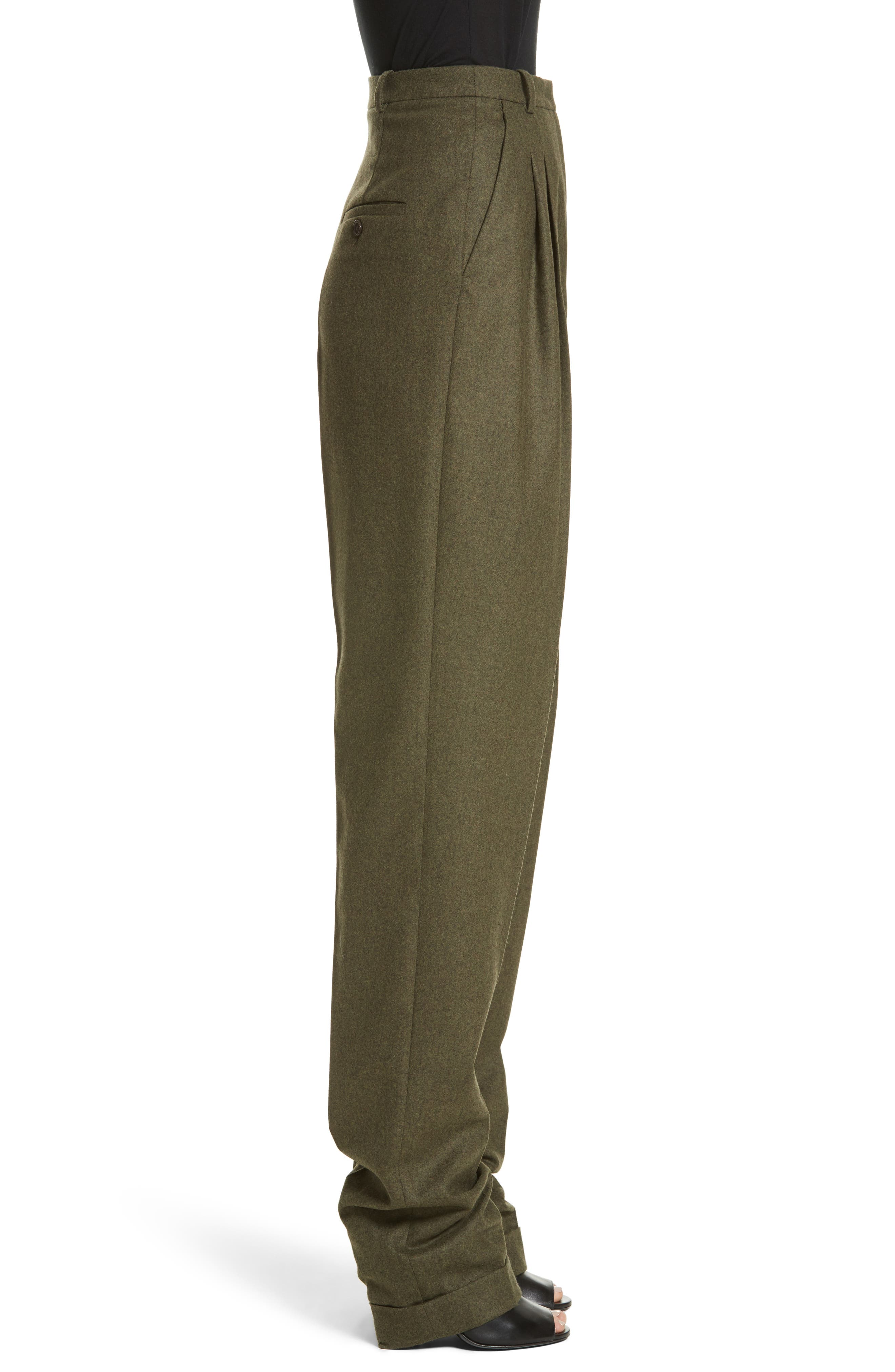 Wool & Cashmere Pleated Flannel Trousers,                             Alternate thumbnail 3, color,                             Olive Mlange