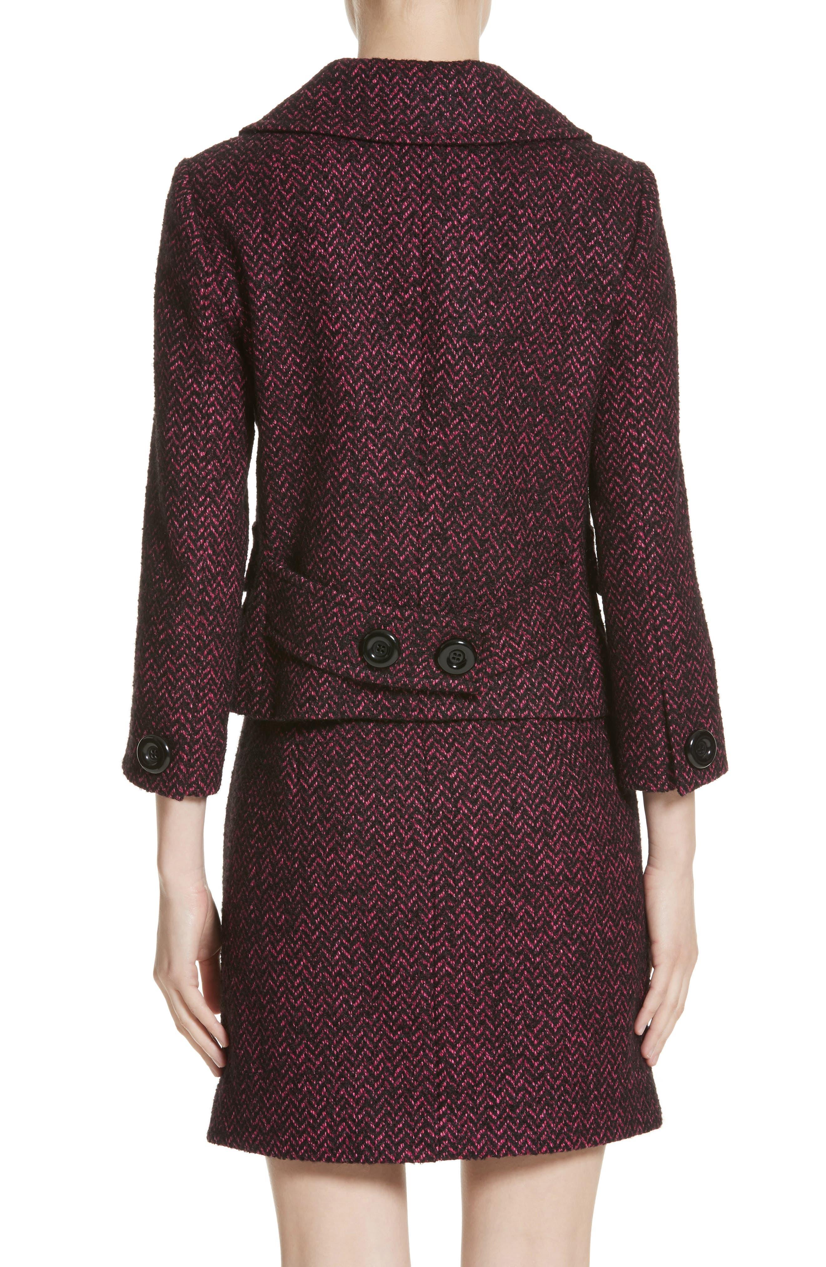 Herringbone Wool Blend Jacket,                             Alternate thumbnail 2, color,                             Magnolia/ Black