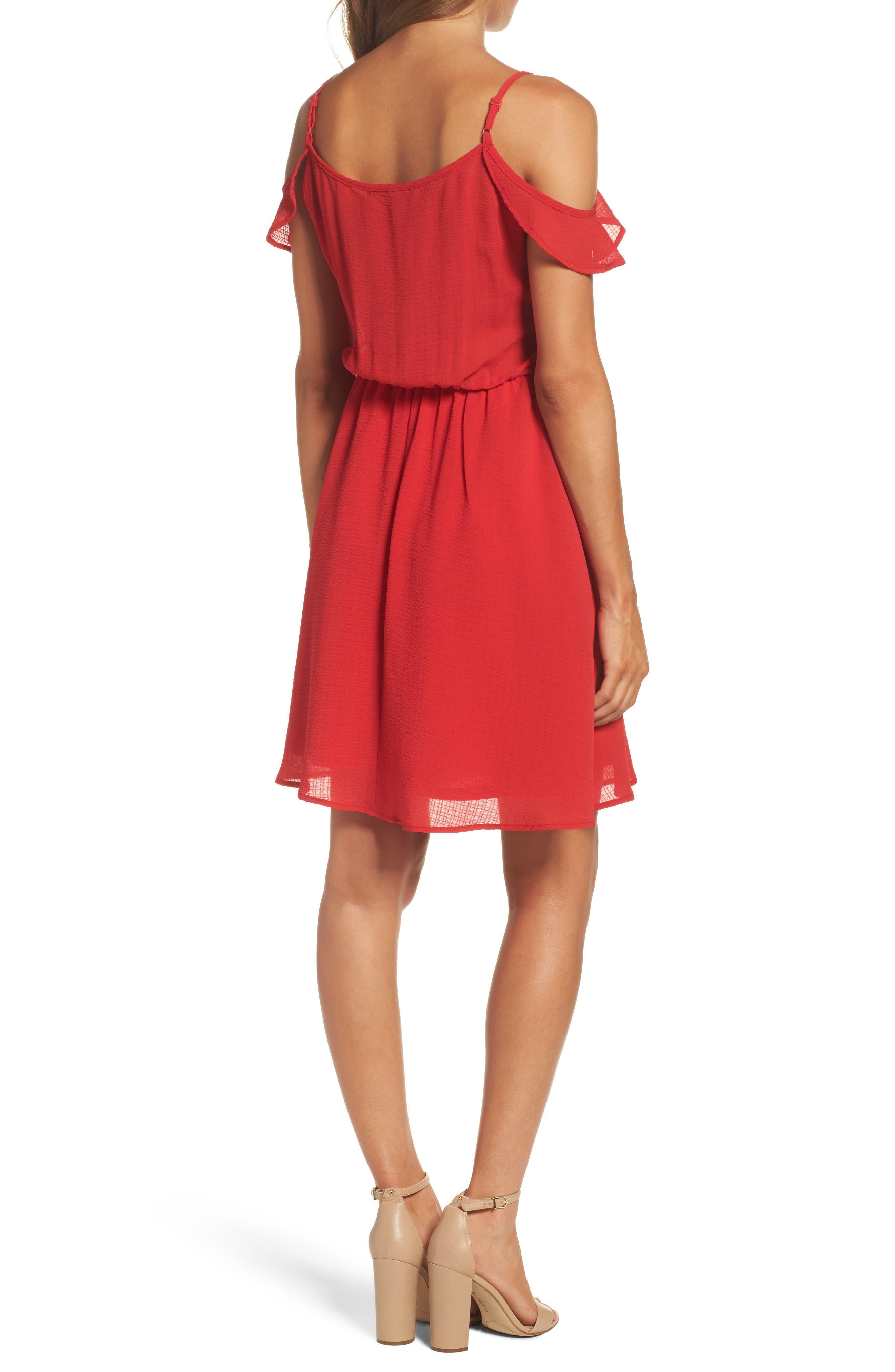 Ruffle Cold Shoulder Dress,                             Alternate thumbnail 2, color,                             Tomato