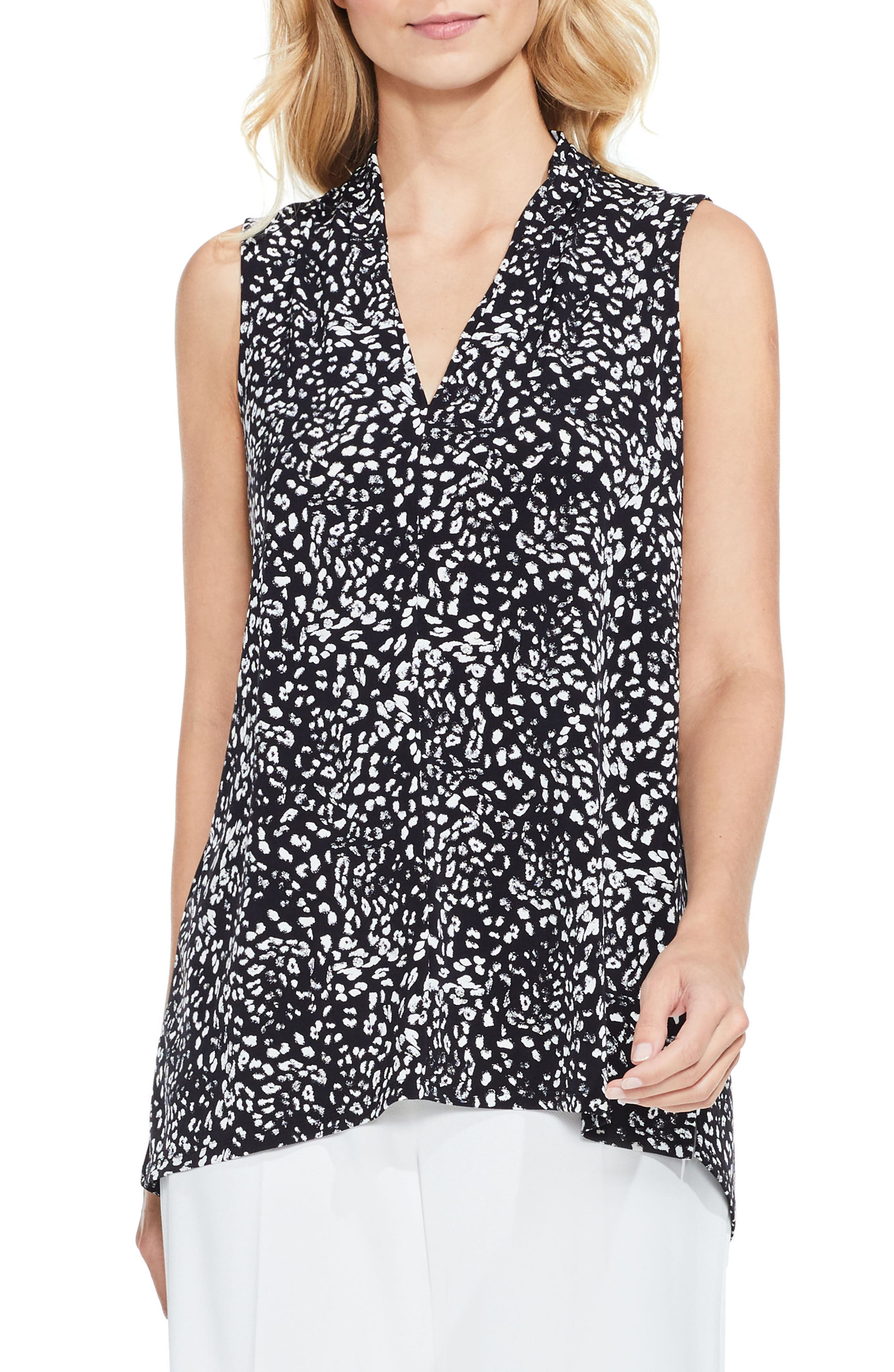Main Image - Vince Camuto Animal Whispers V-Neck Top