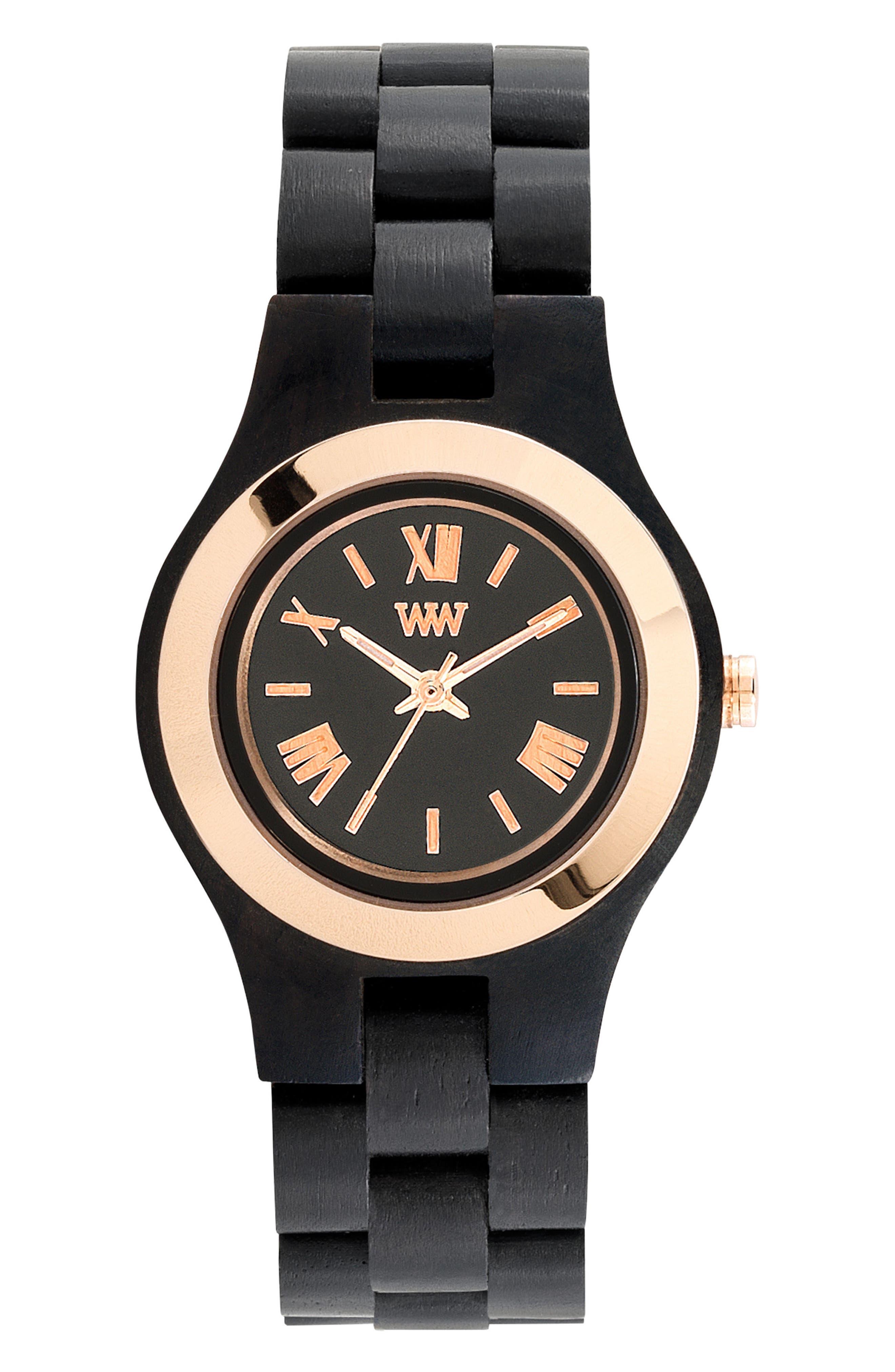 Criss Wood Bracelet Watch, 31mm,                         Main,                         color, Black/ Gold