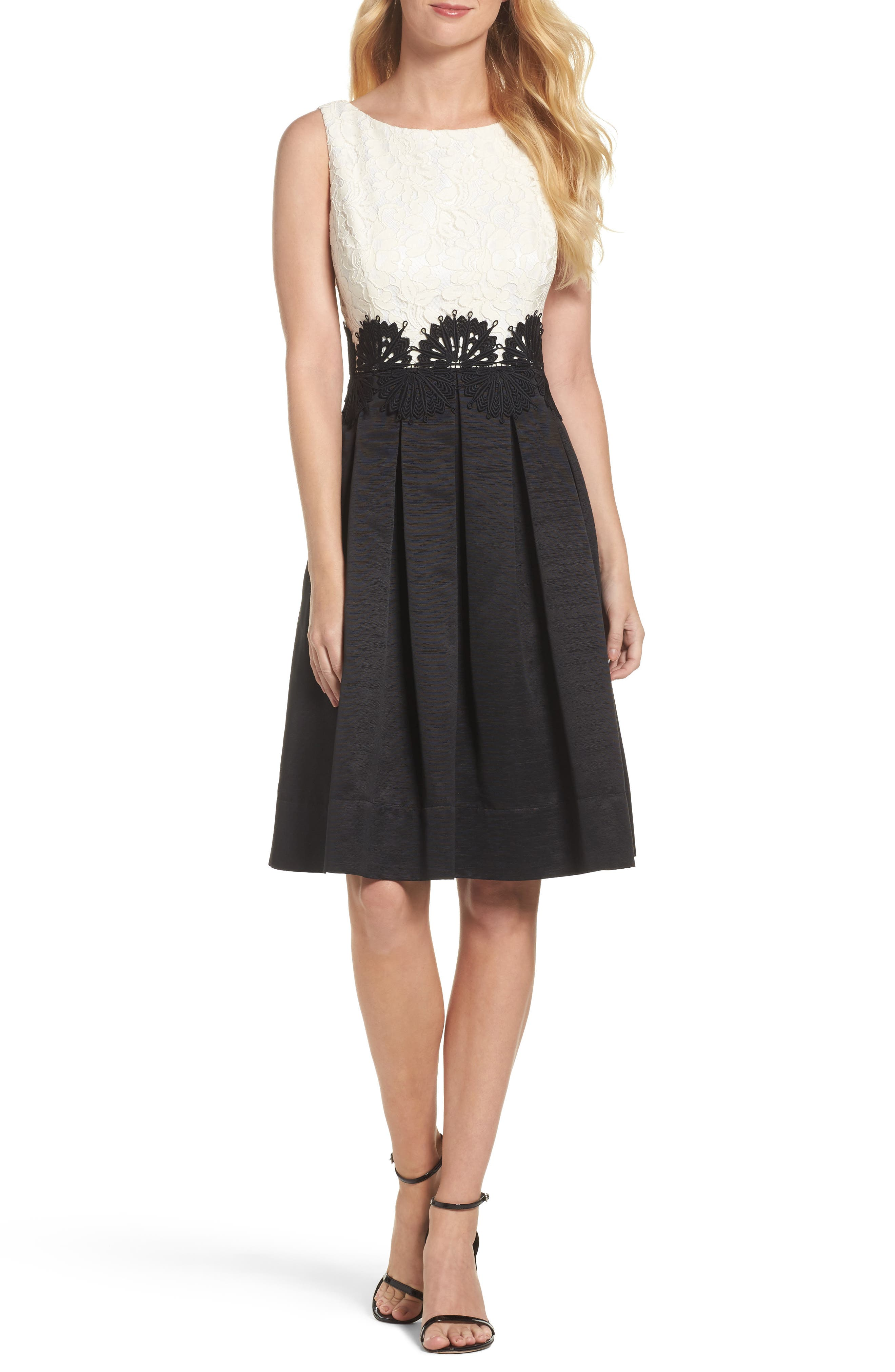 Embroidered Lace Fit & Flare Dress,                         Main,                         color, Mauve/ Black