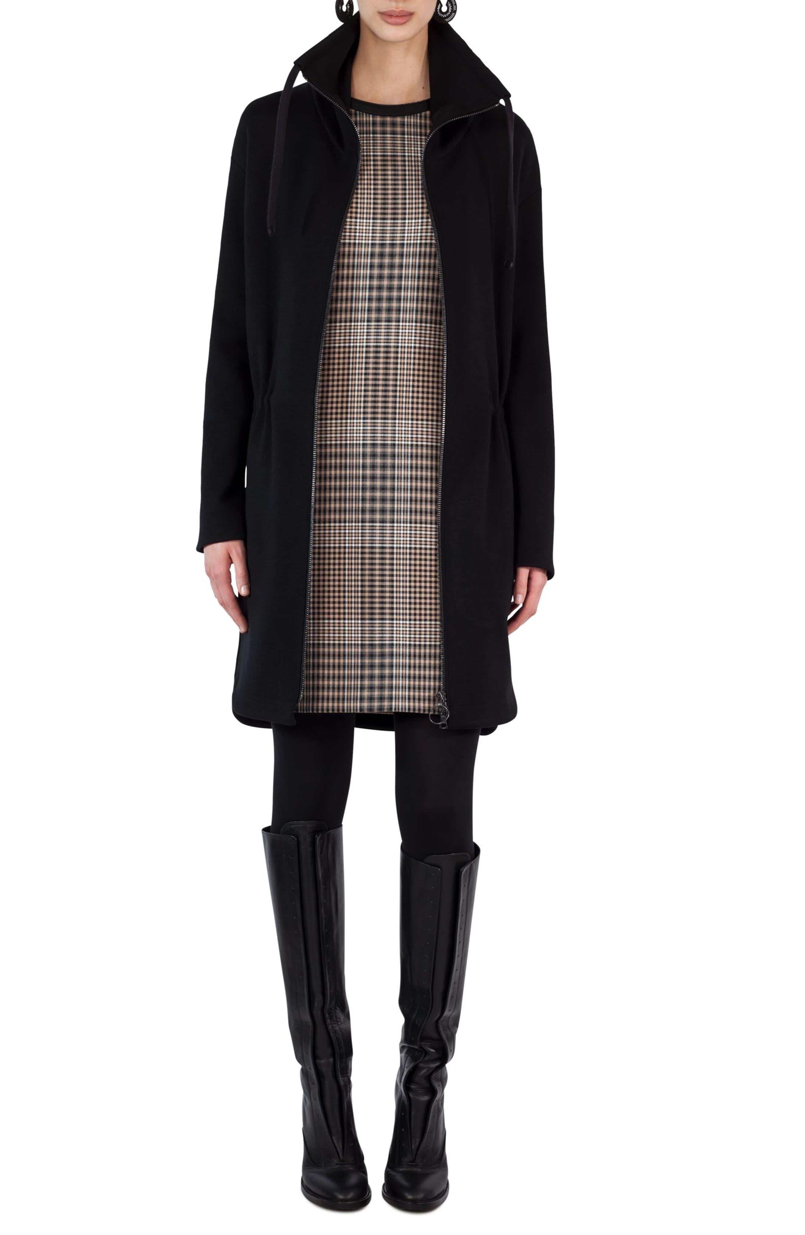 AKRIS PUNTO Drawstring Stretch Wool Coat