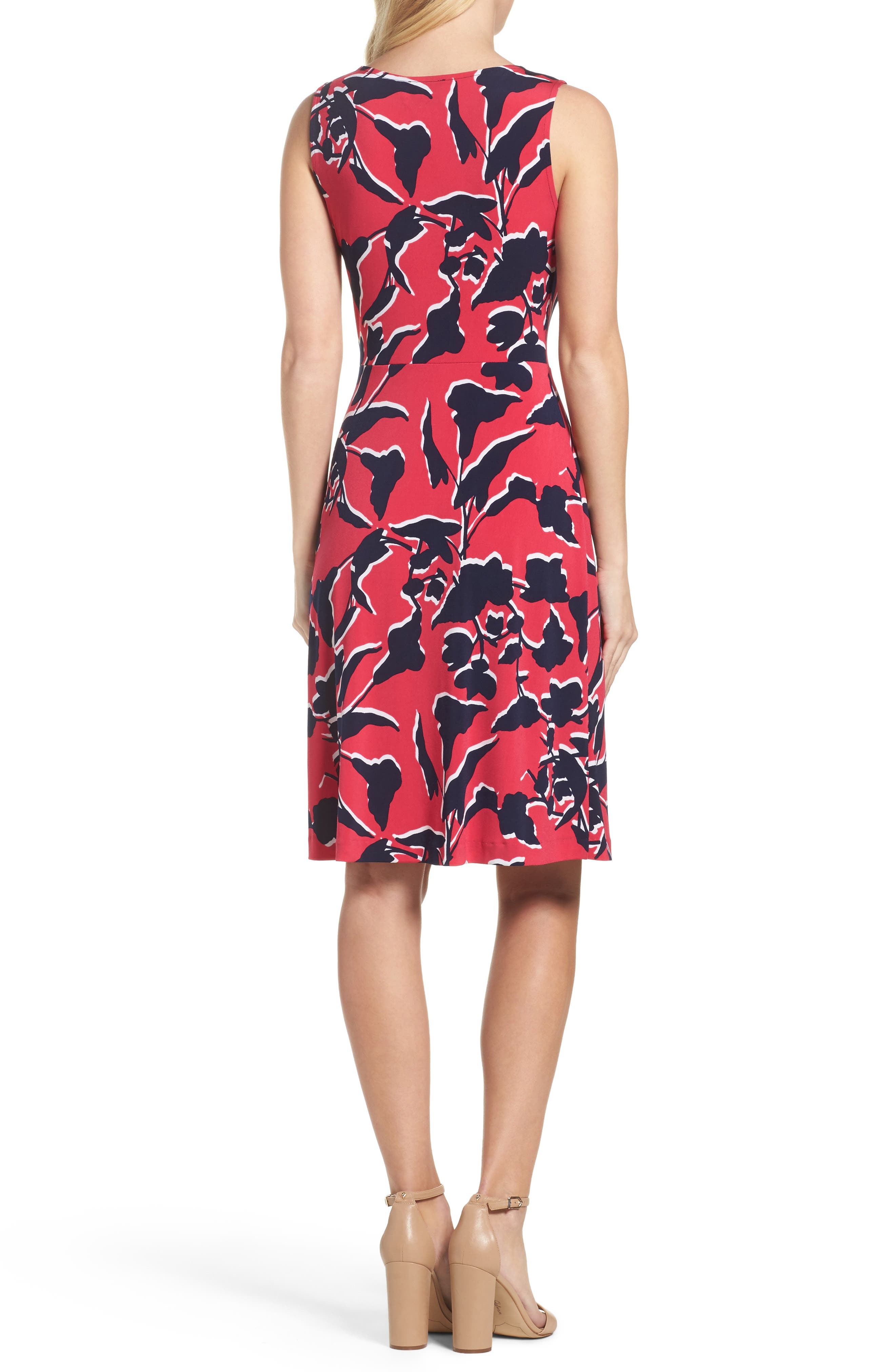 Twist Front Jersey Sheath Dress,                             Alternate thumbnail 2, color,                             Shadow Floral