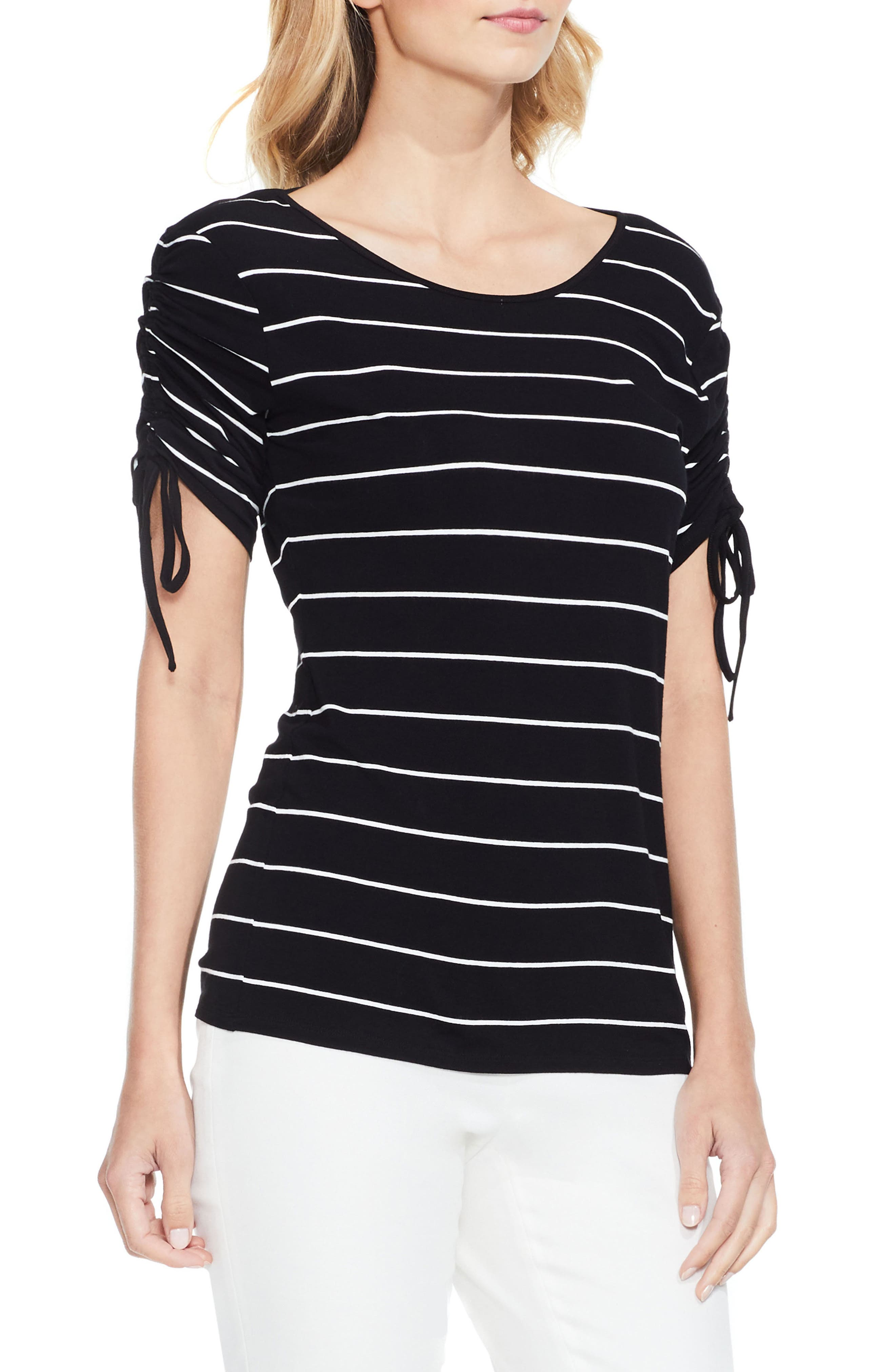 VINCE CAMUTO Drawstring Sleeve Stripe Top