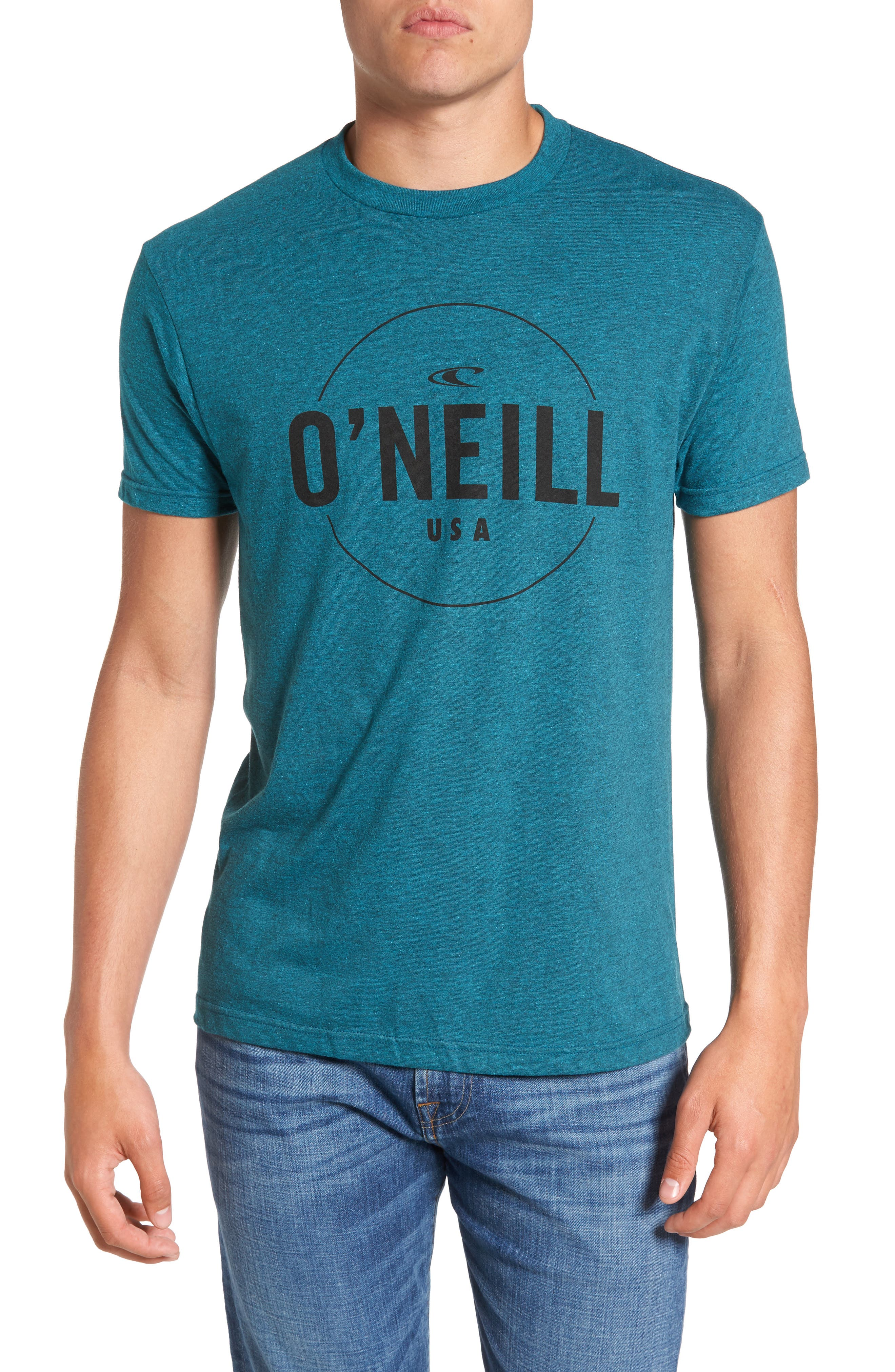 Agent Logo Graphic T-Shirt,                             Main thumbnail 1, color,                             Cyan Black Heather