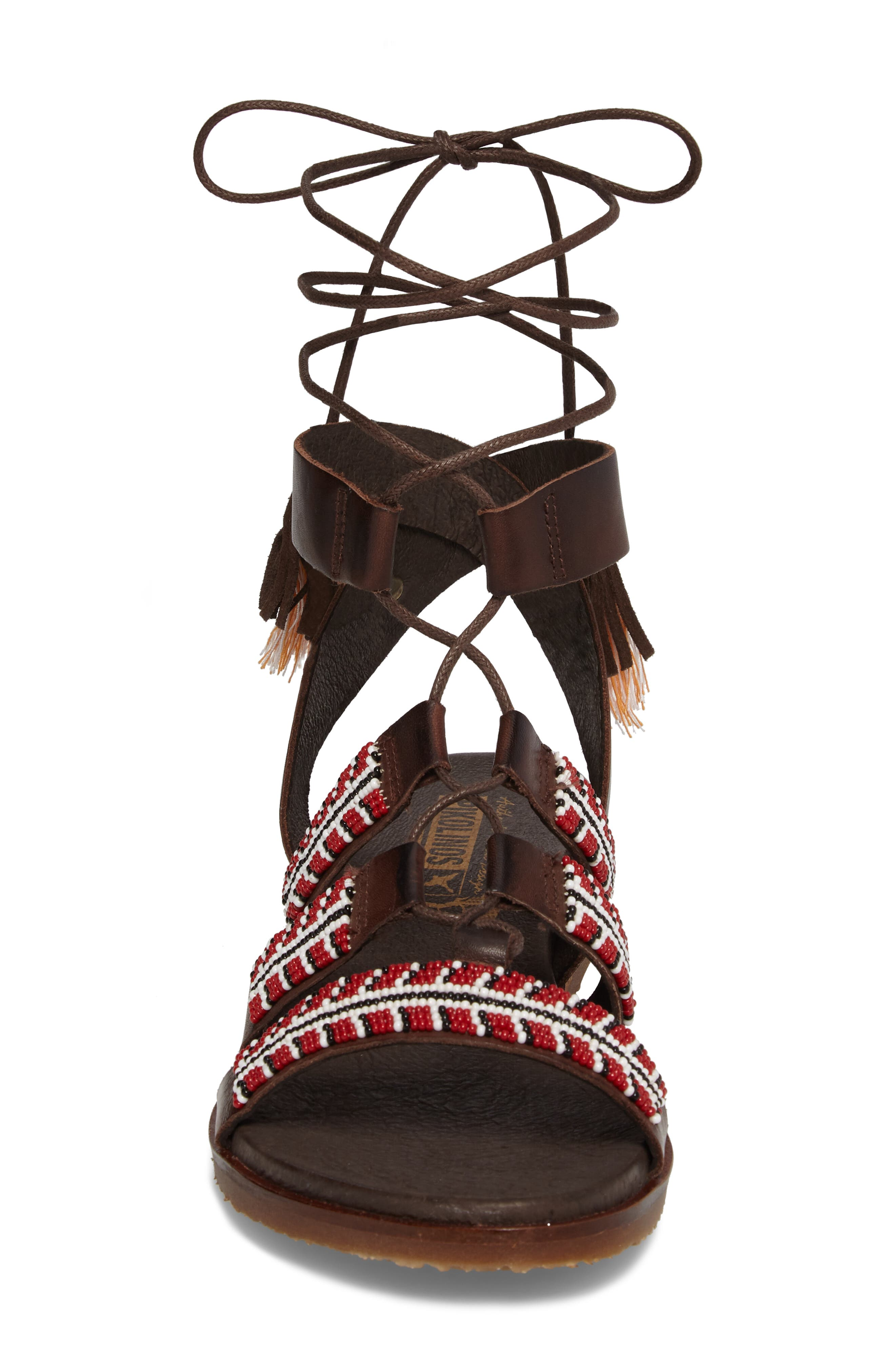 Antillas Beaded Ghillie Sandal,                             Alternate thumbnail 4, color,                             Olmo Leather