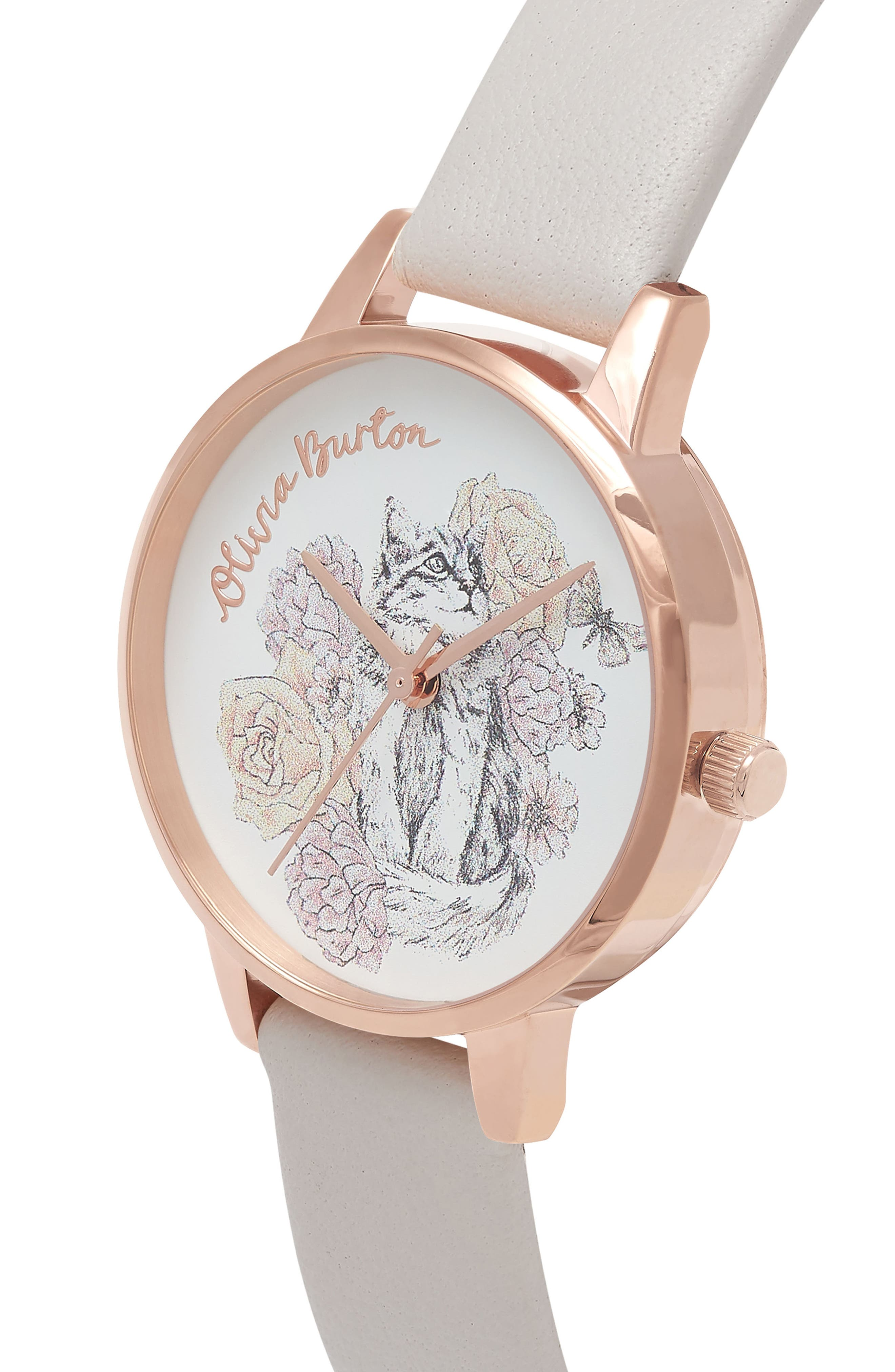 Animal Leather Strap Watch, 30mm,                             Alternate thumbnail 3, color,                             Grey Lilac/ Floral/ Rose Gold