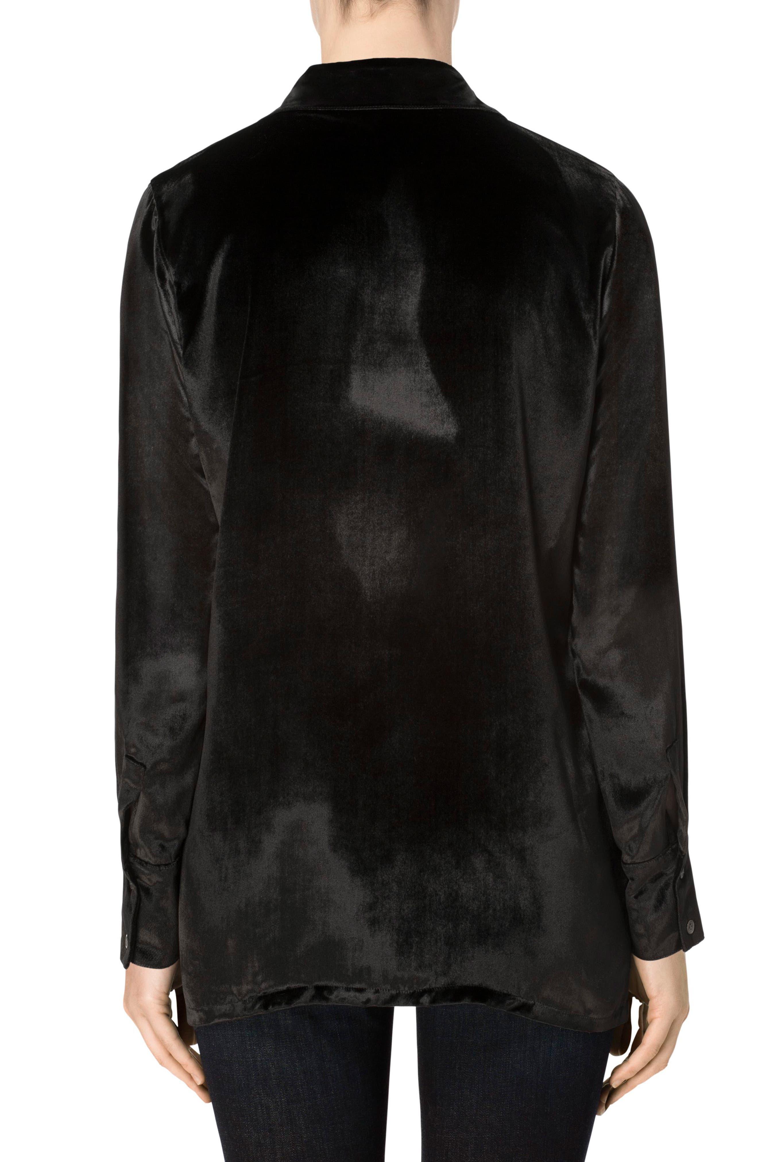 Nora Velvet Shirt,                             Alternate thumbnail 2, color,                             Black