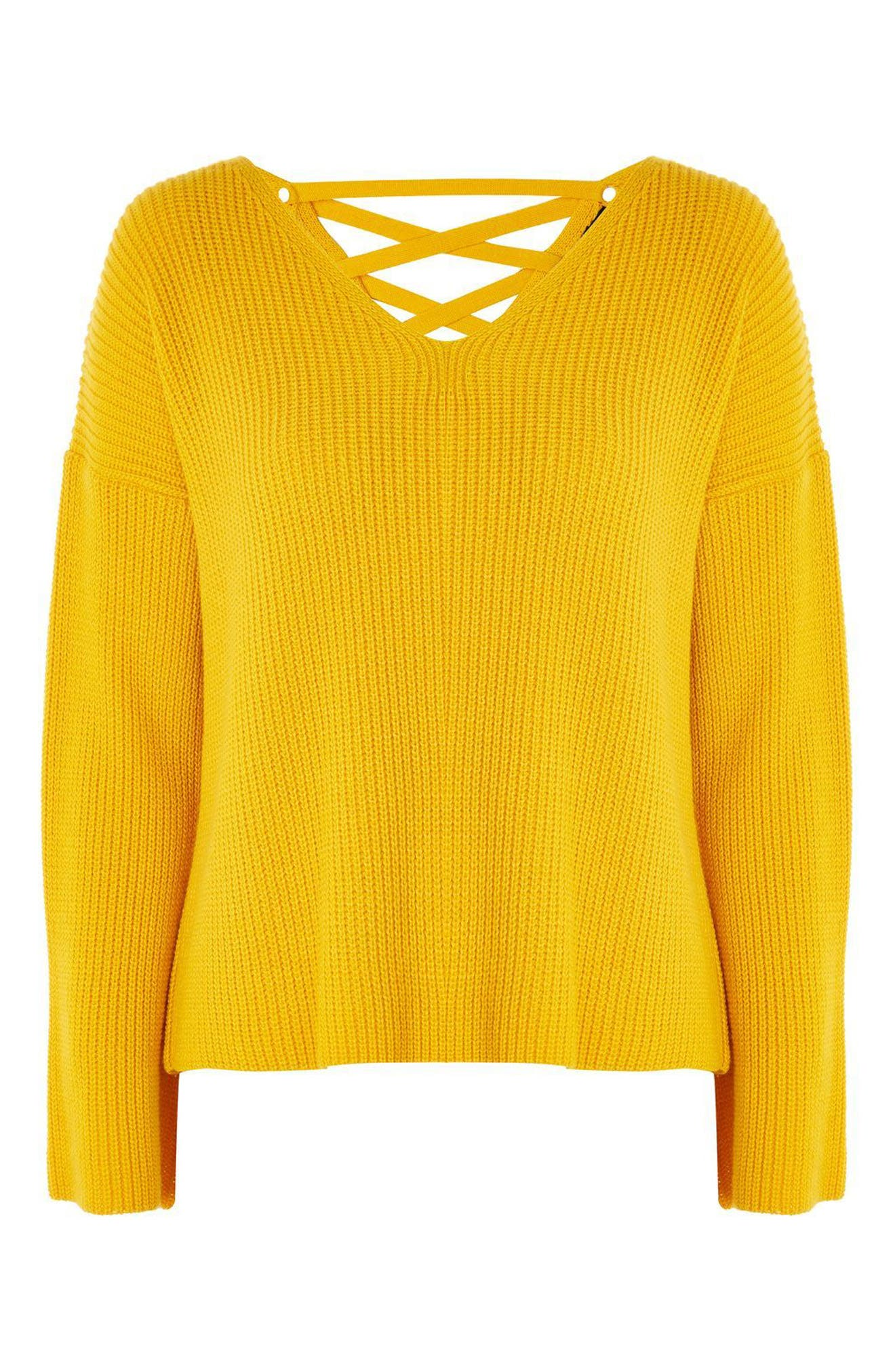 Lattice Back Sweater,                             Alternate thumbnail 3, color,                             Yellow