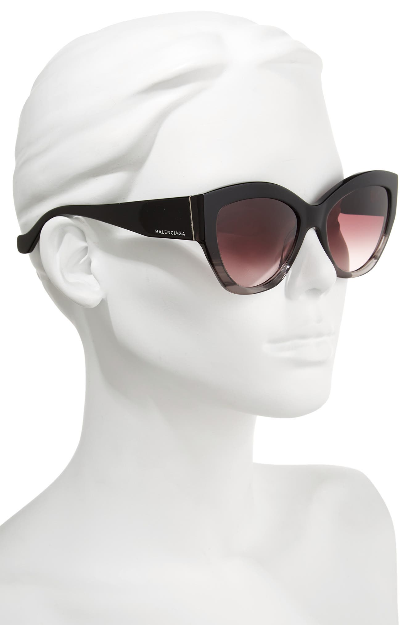 56mm Cat Eye Sunglasses,                             Alternate thumbnail 2, color,                             Striped Black/ Opal/ Ruthenium