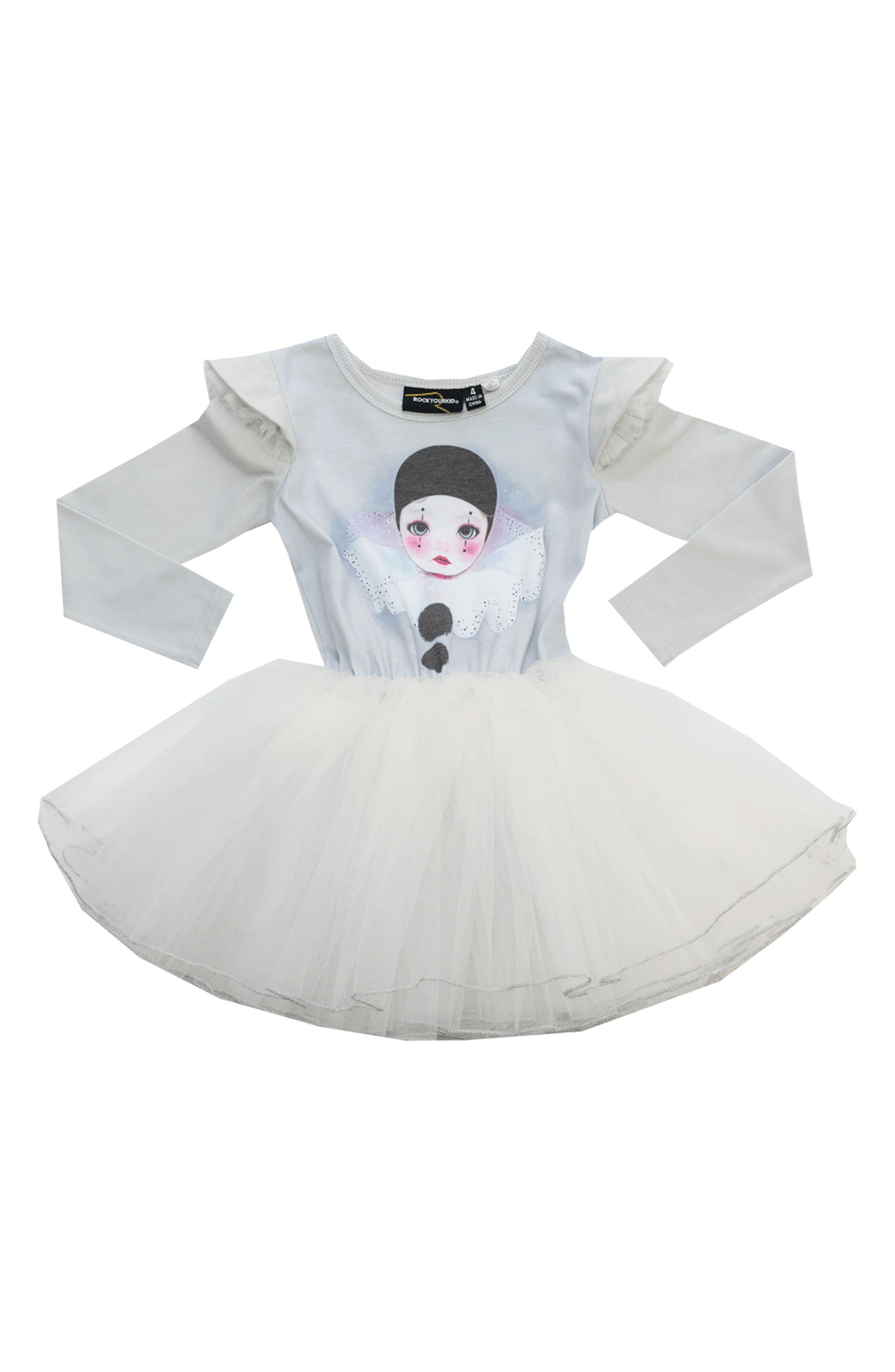 Pierrot Circus Dress,                             Main thumbnail 1, color,                             Silver