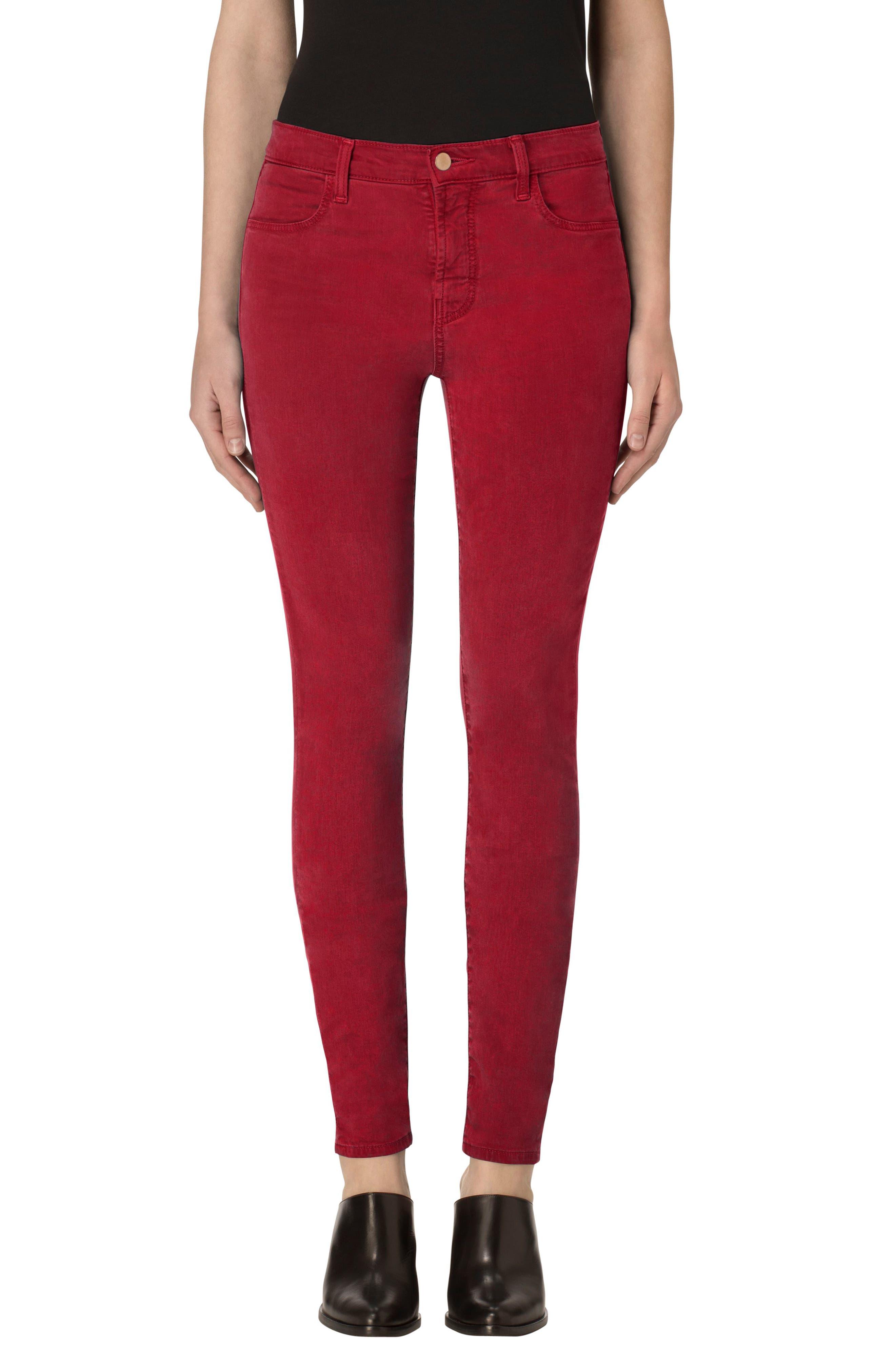 High Waist Ankle Super Skinny Jeans,                         Main,                         color, Vermillion