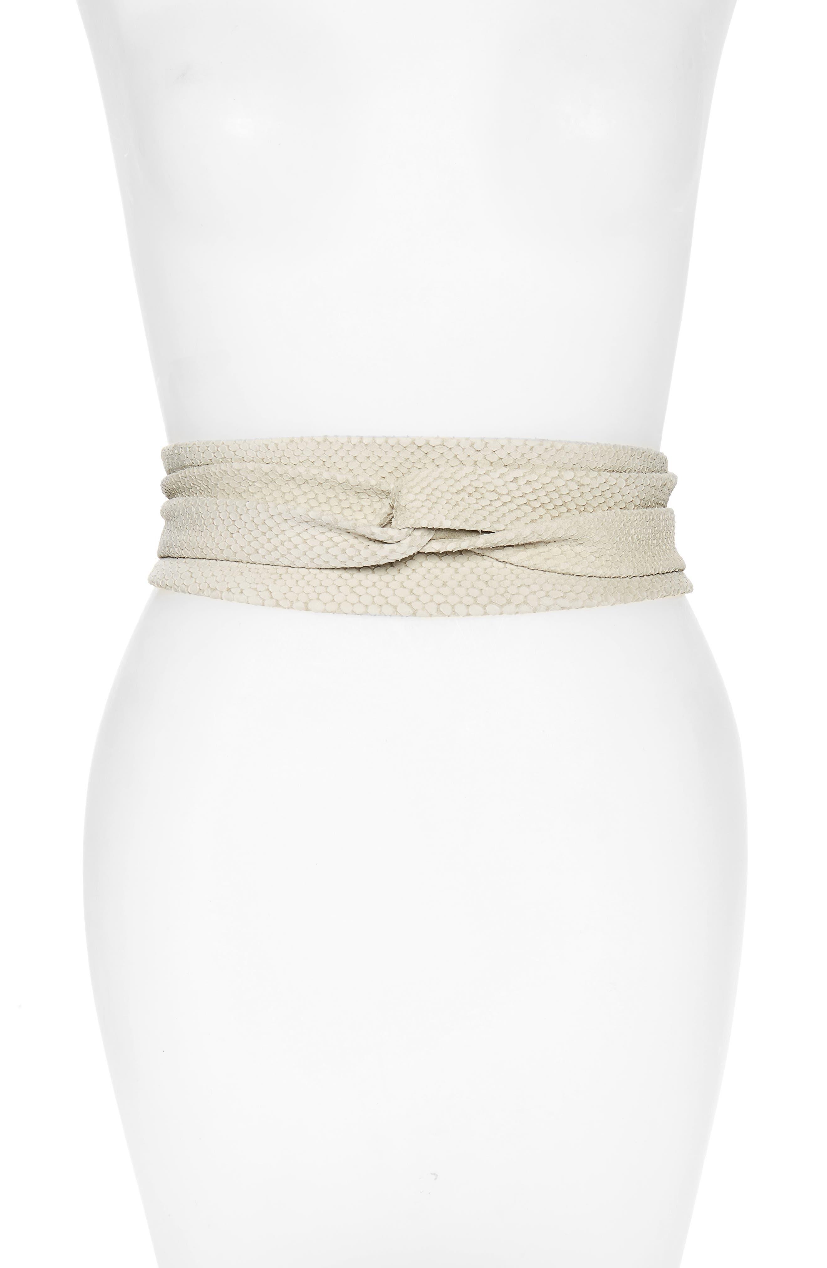 Ada Python Embossed Calfskin Leather Wrap Belt