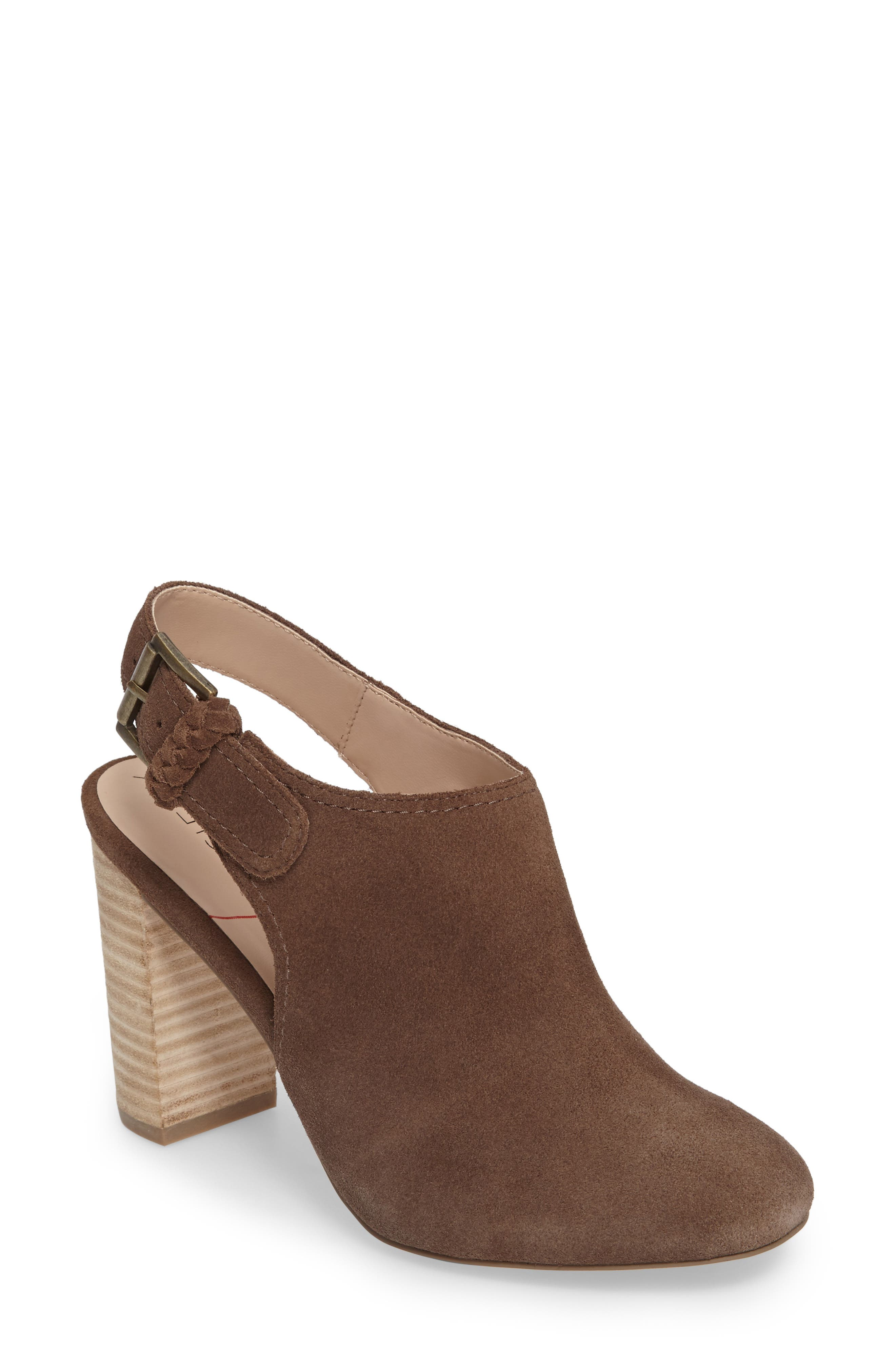 Apollo Slingback Bootie,                             Main thumbnail 1, color,                             Dark Taupe Suede Suede