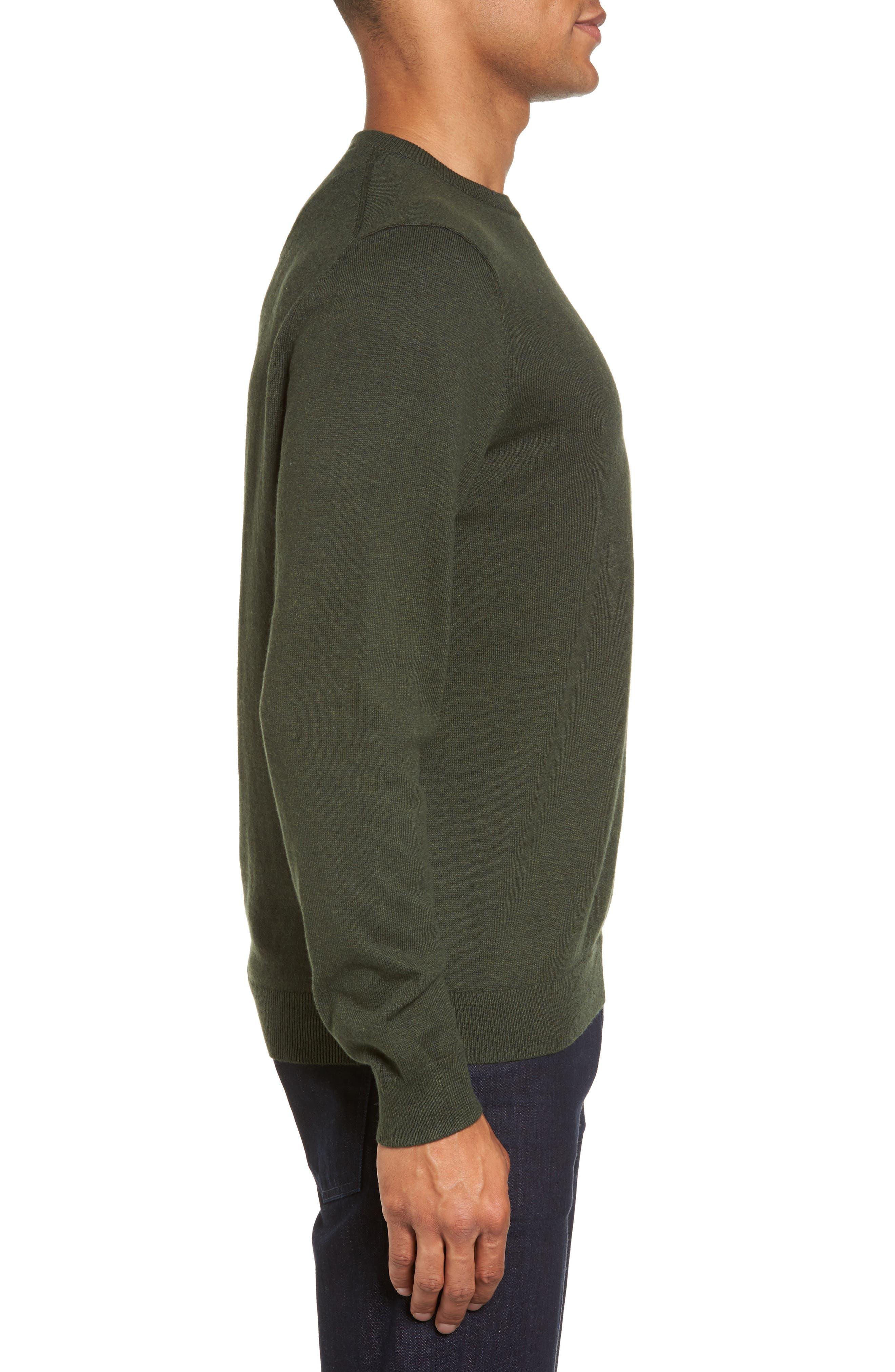 Cotton & Cashmere Crewneck Sweater,                             Alternate thumbnail 3, color,                             Green Deep Pine