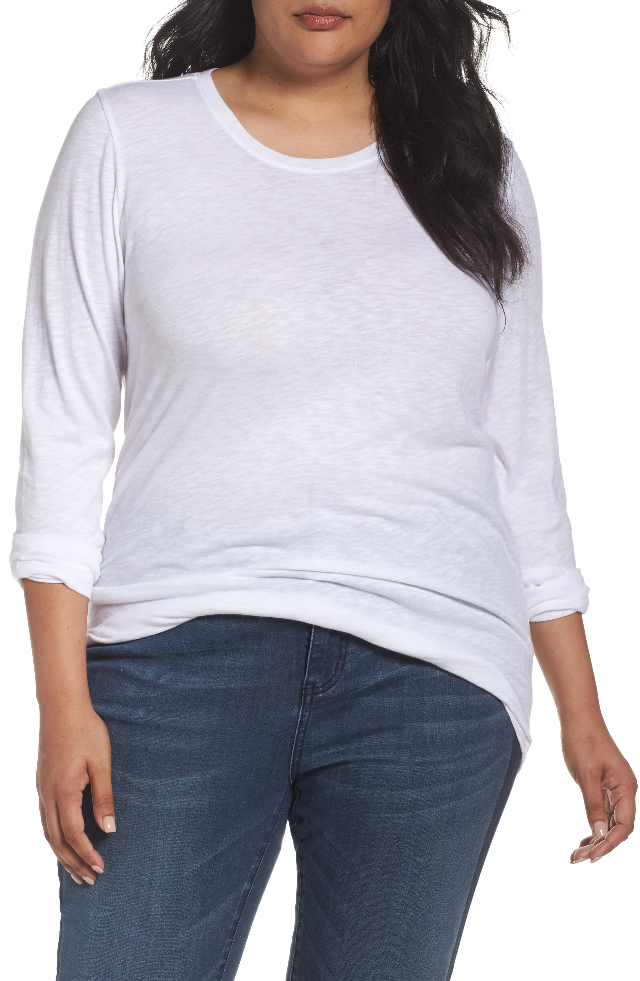 Caslon® Long Sleeve Crewneck Tee (Plus Size)