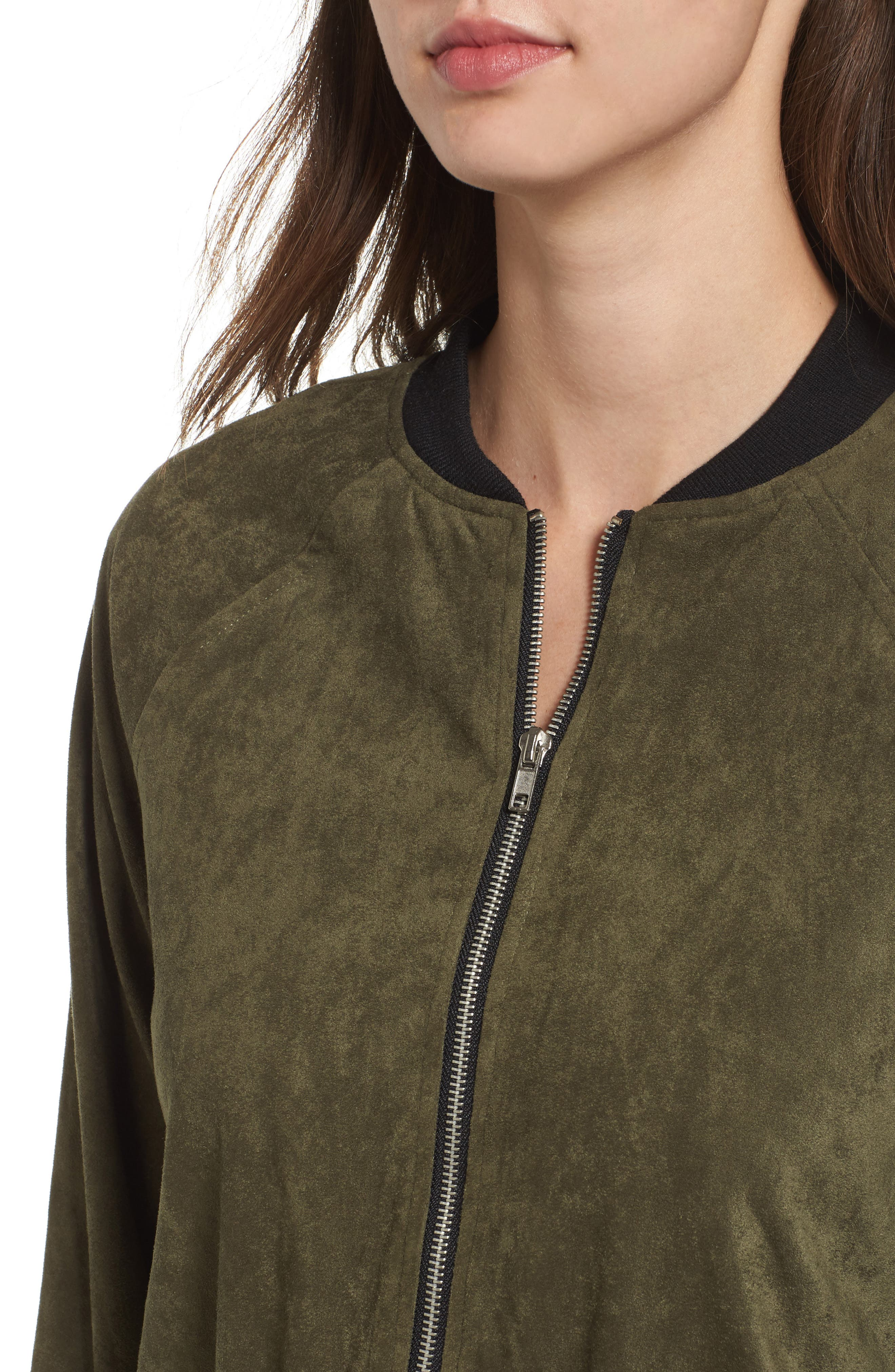 Ellie Faux Suede Bomber Jacket,                             Alternate thumbnail 4, color,                             Sage