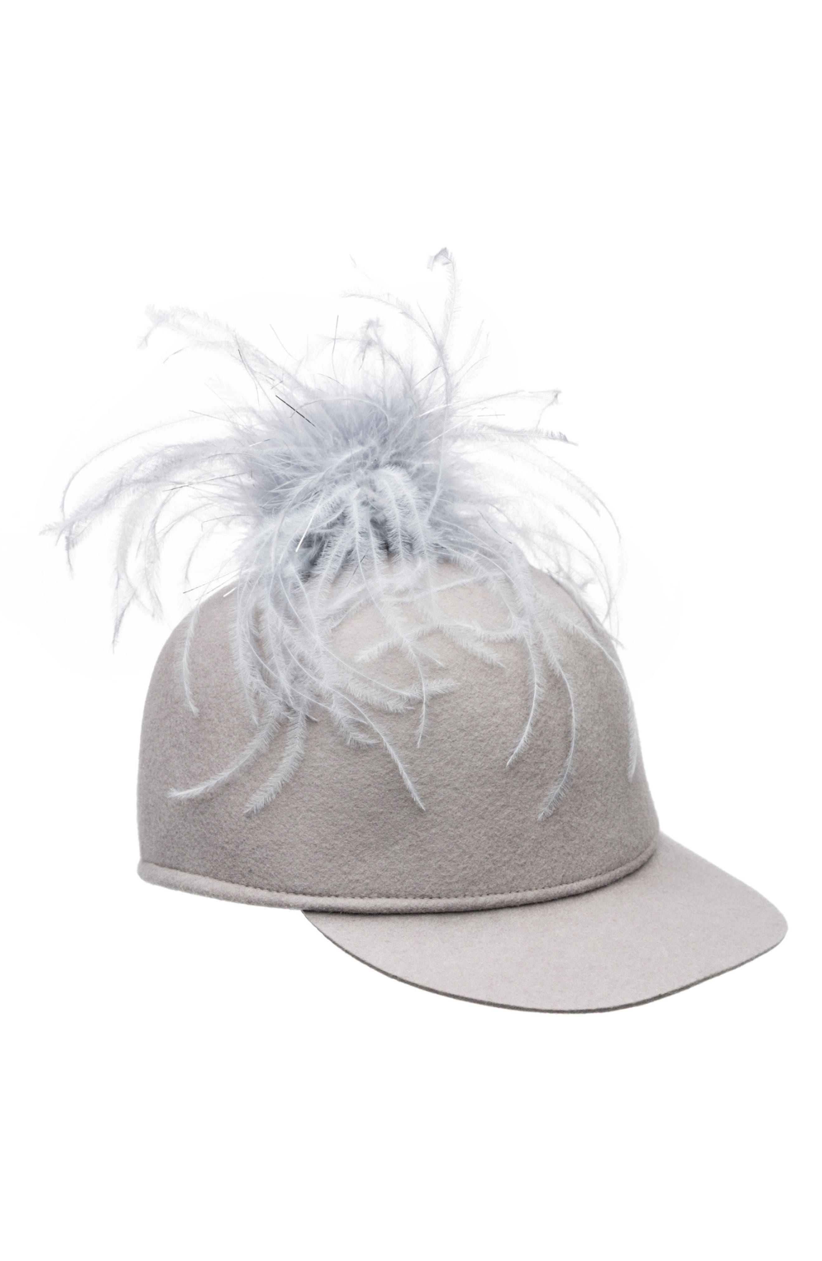 Alex Ostrich Feather Pom Cap,                             Main thumbnail 1, color,                             Light Grey