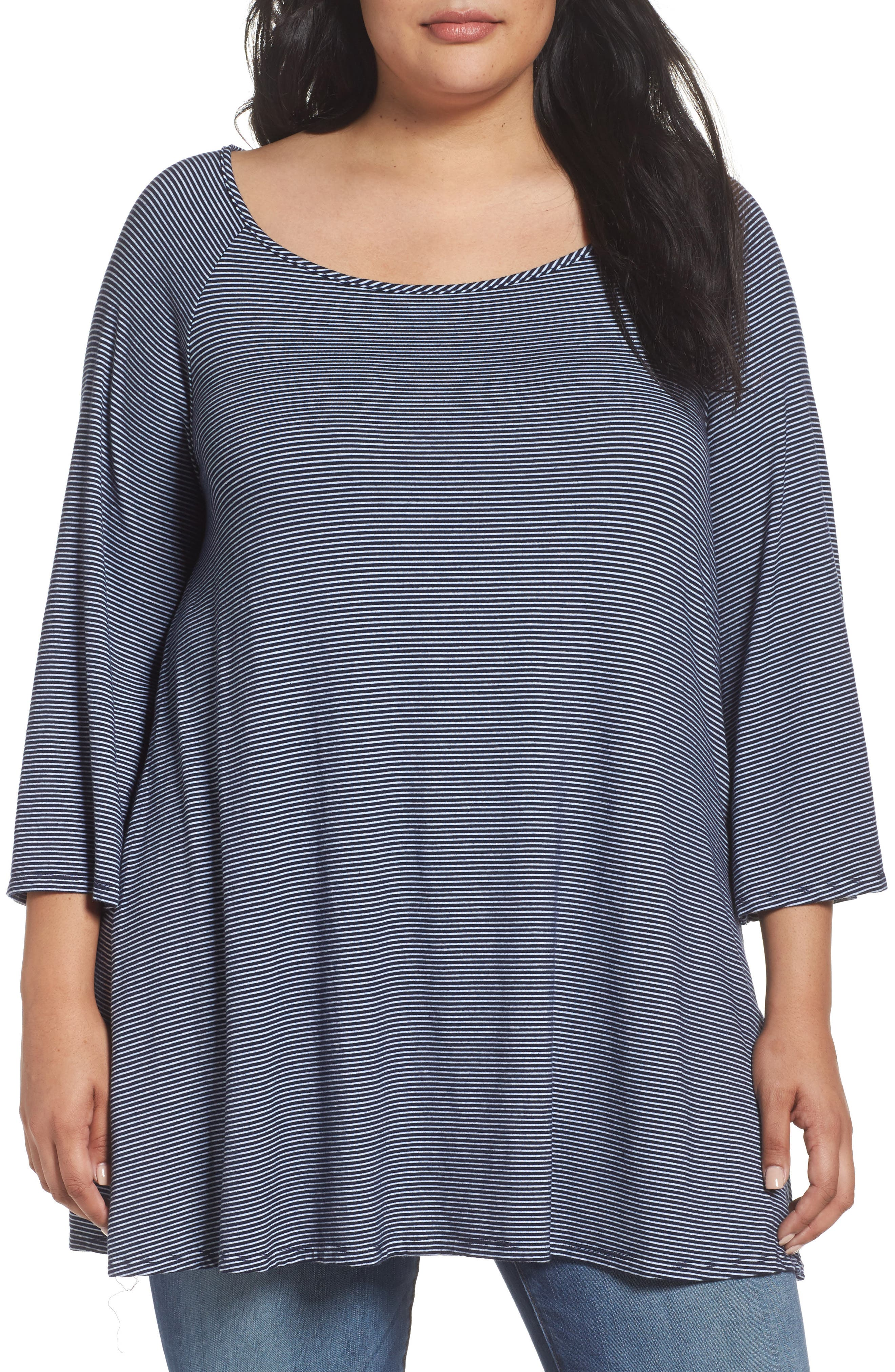 Three Dots Bell Sleeve Stripe Tunic (Plus Size)