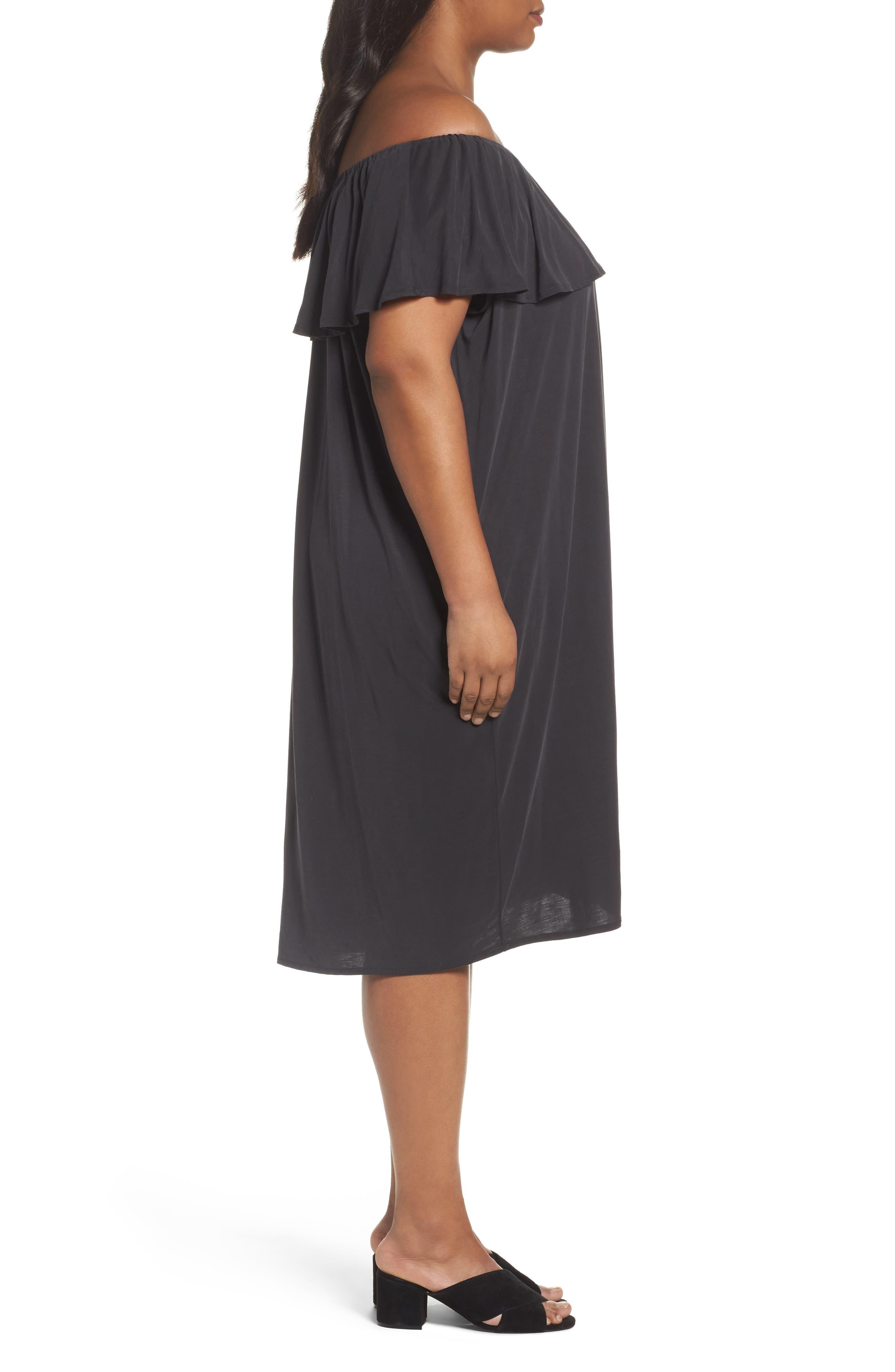 Boardwalk Convertible Jersey Dress,                             Alternate thumbnail 3, color,                             Washed Black