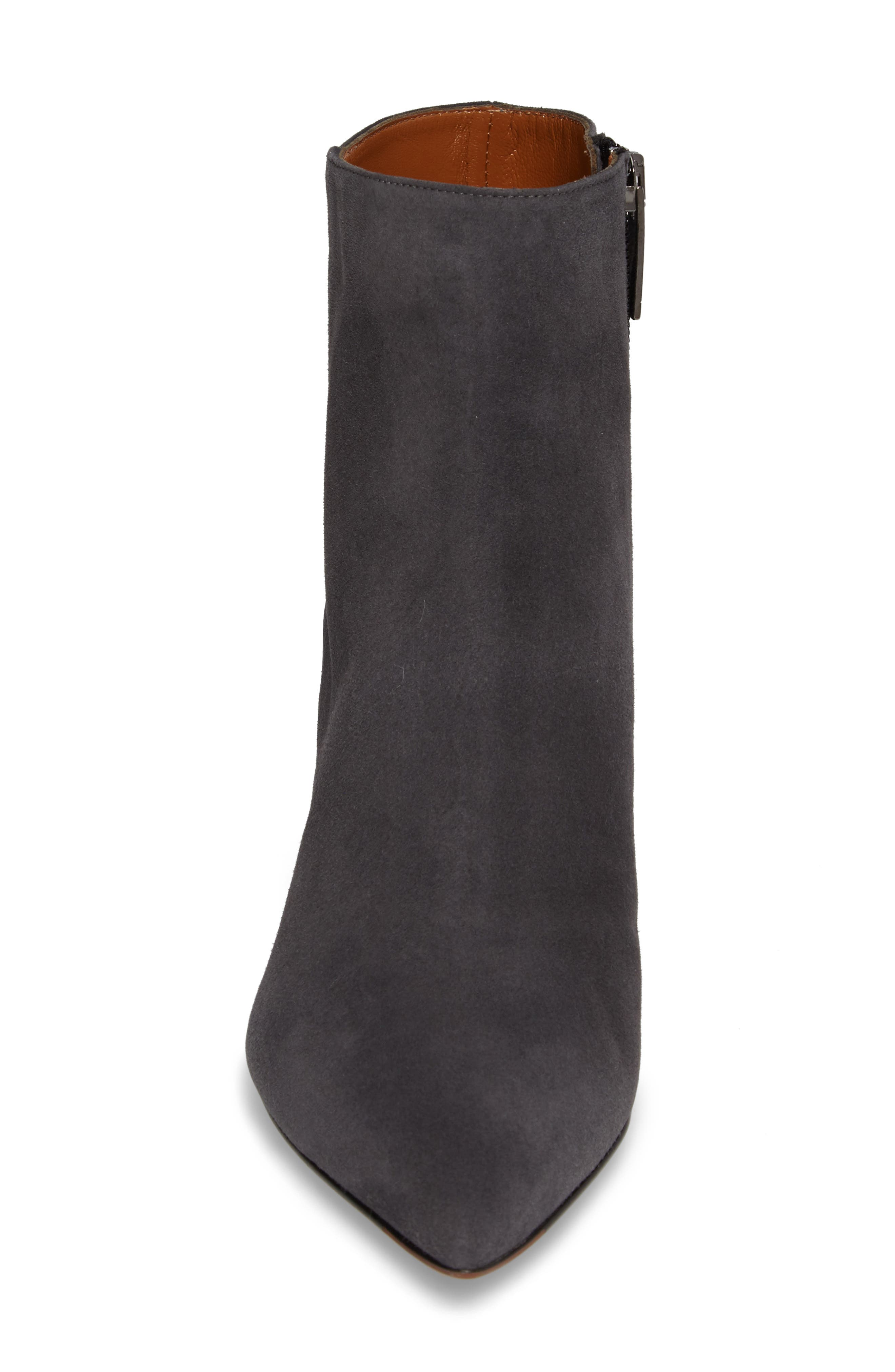 Maia Weatherproof Pointed Toe Bootie,                             Alternate thumbnail 4, color,                             Anthracite Suede