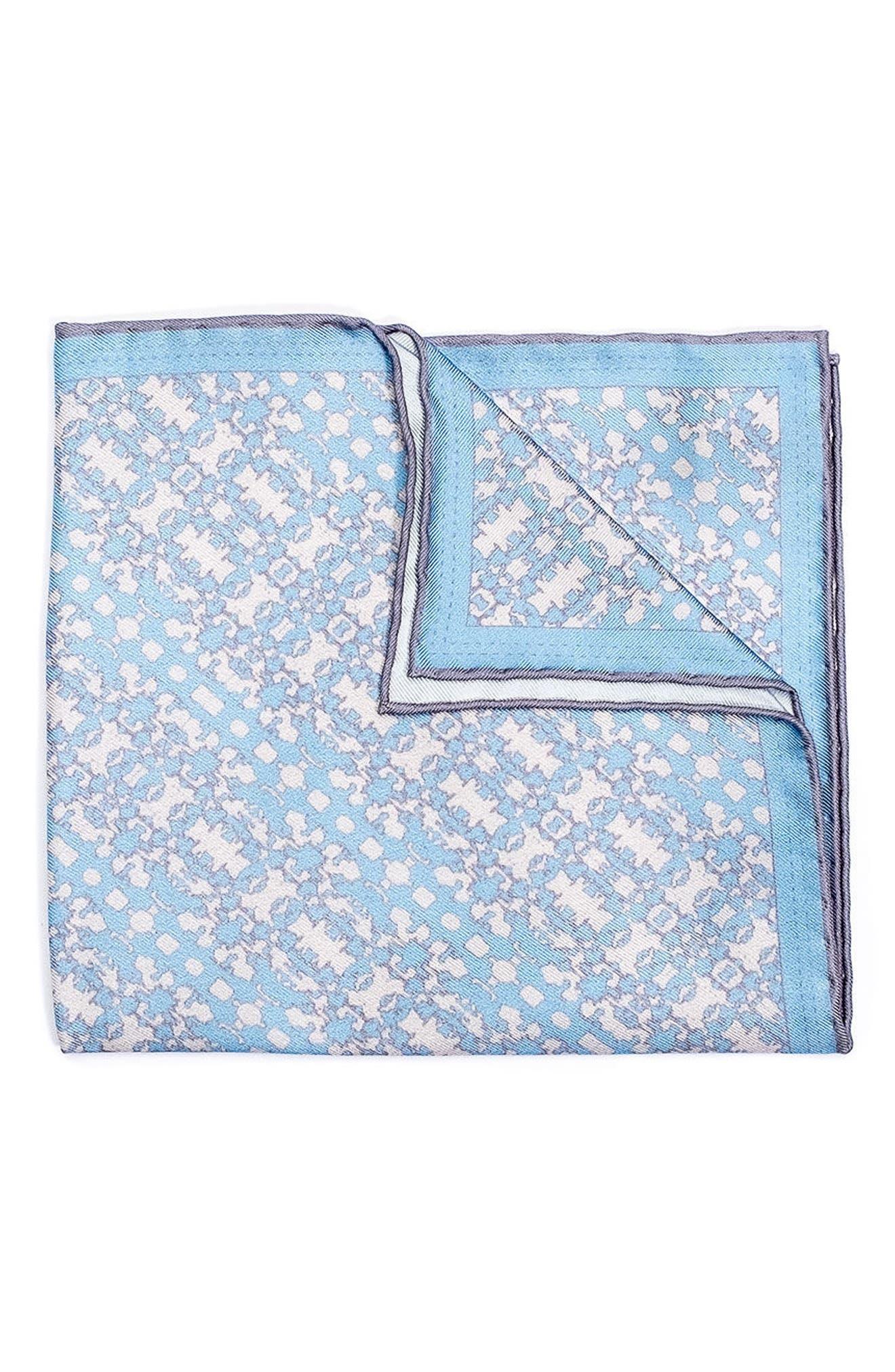 Batik Patterned Silk Pocket Square,                         Main,                         color, Blue