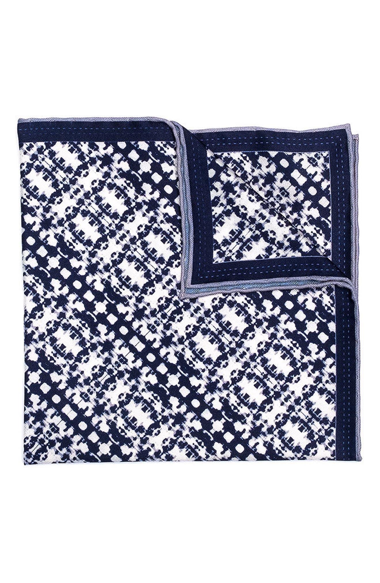Batik Patterned Silk Pocket Square,                         Main,                         color, Navy