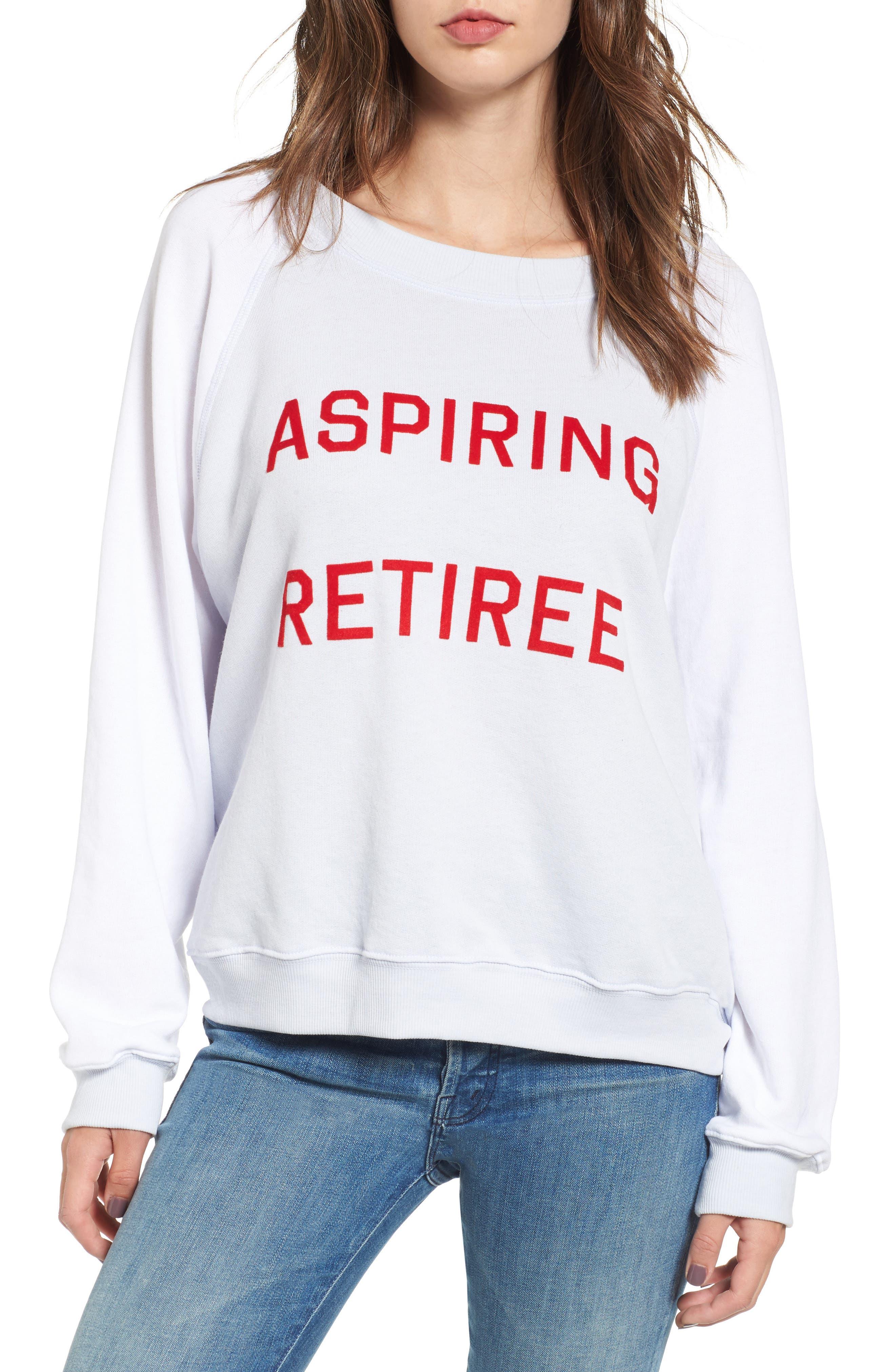 Aspiring Retiree Sweatshirt,                             Main thumbnail 1, color,                             Blue Pearl