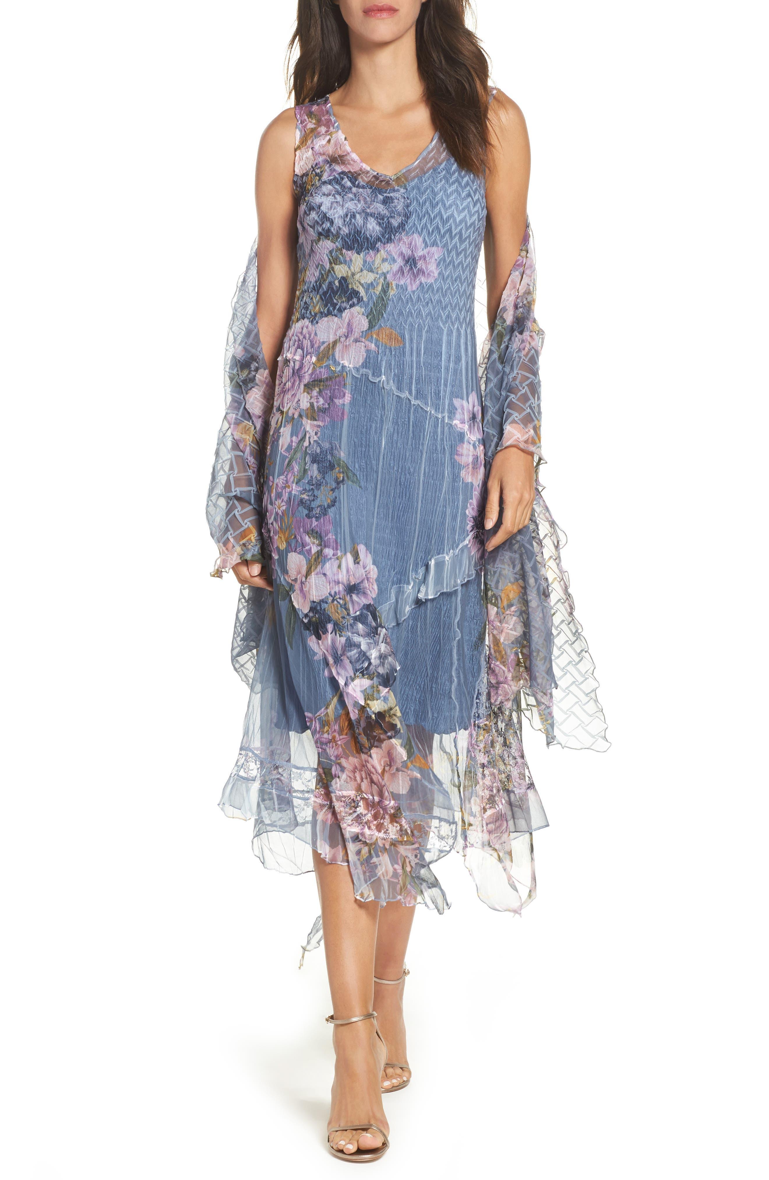 Komarov Chiffon & Lace A-Line Dress with Shawl (Regular & Petite)