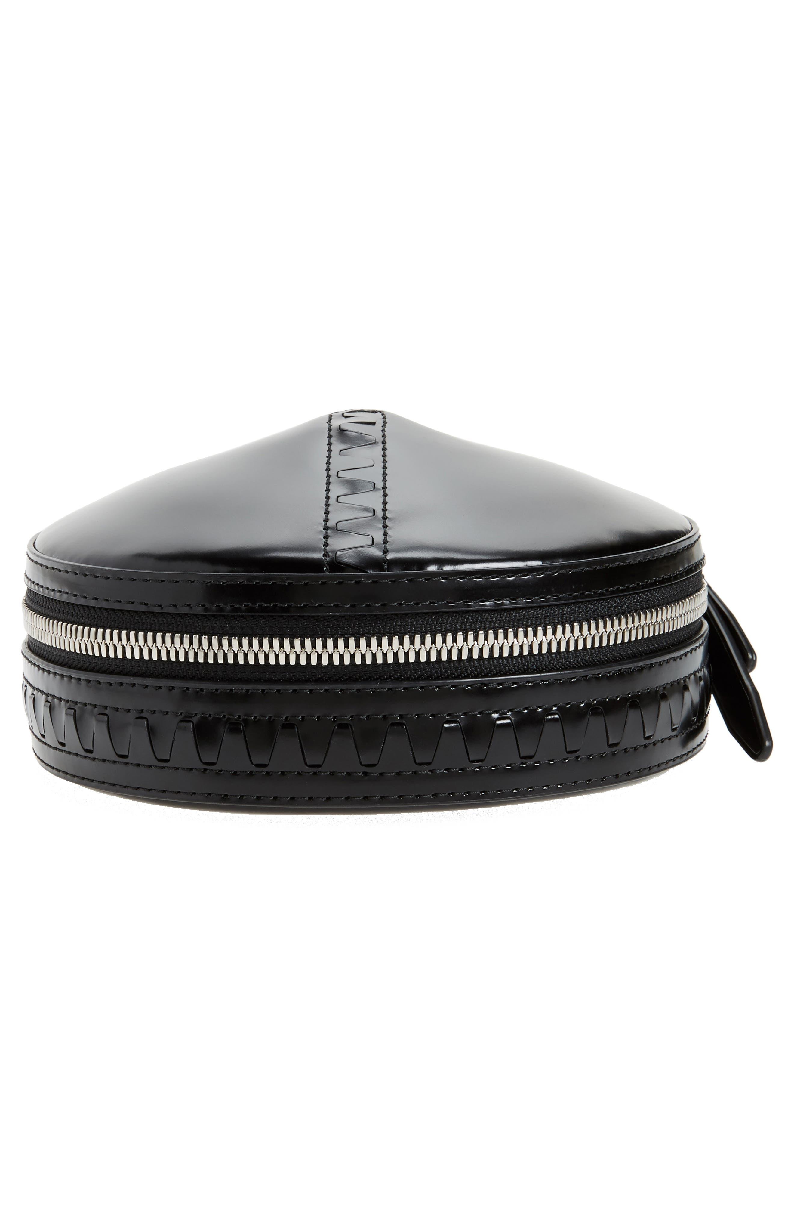 Alix Leather Circle Clutch,                             Alternate thumbnail 6, color,                             Black