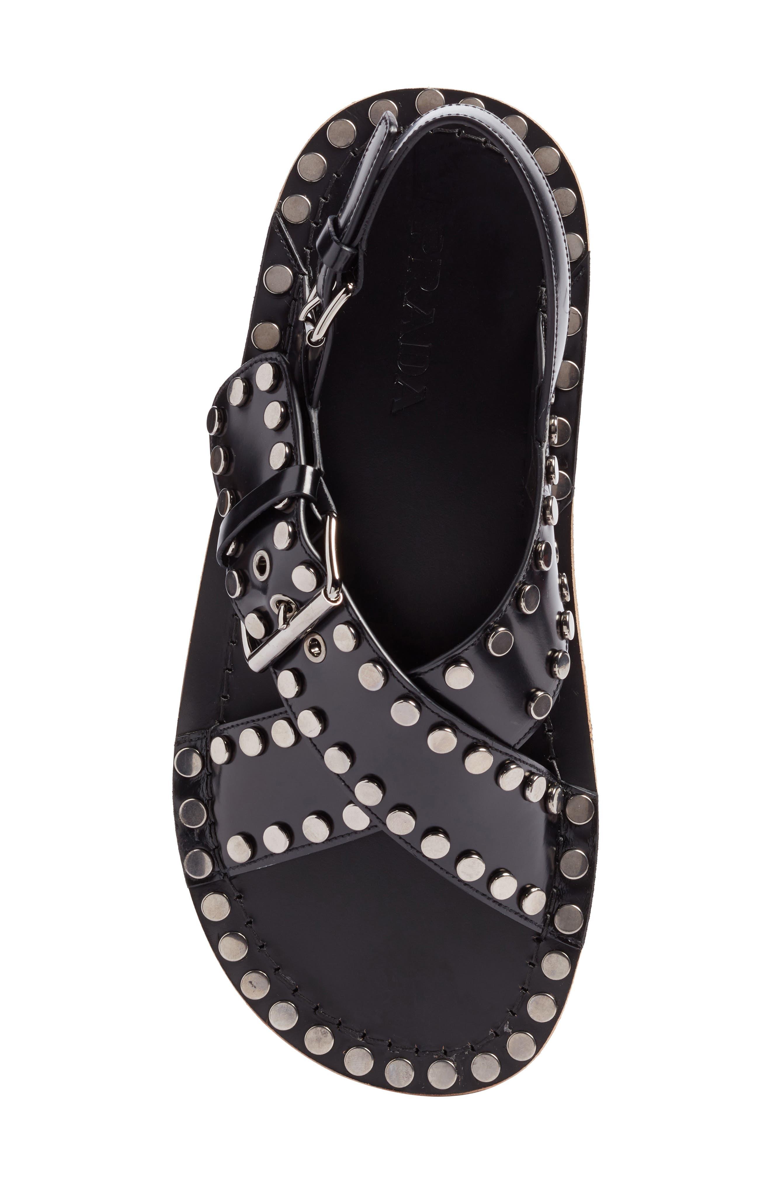 Crisscross Sandal,                             Alternate thumbnail 5, color,                             Nero Leather