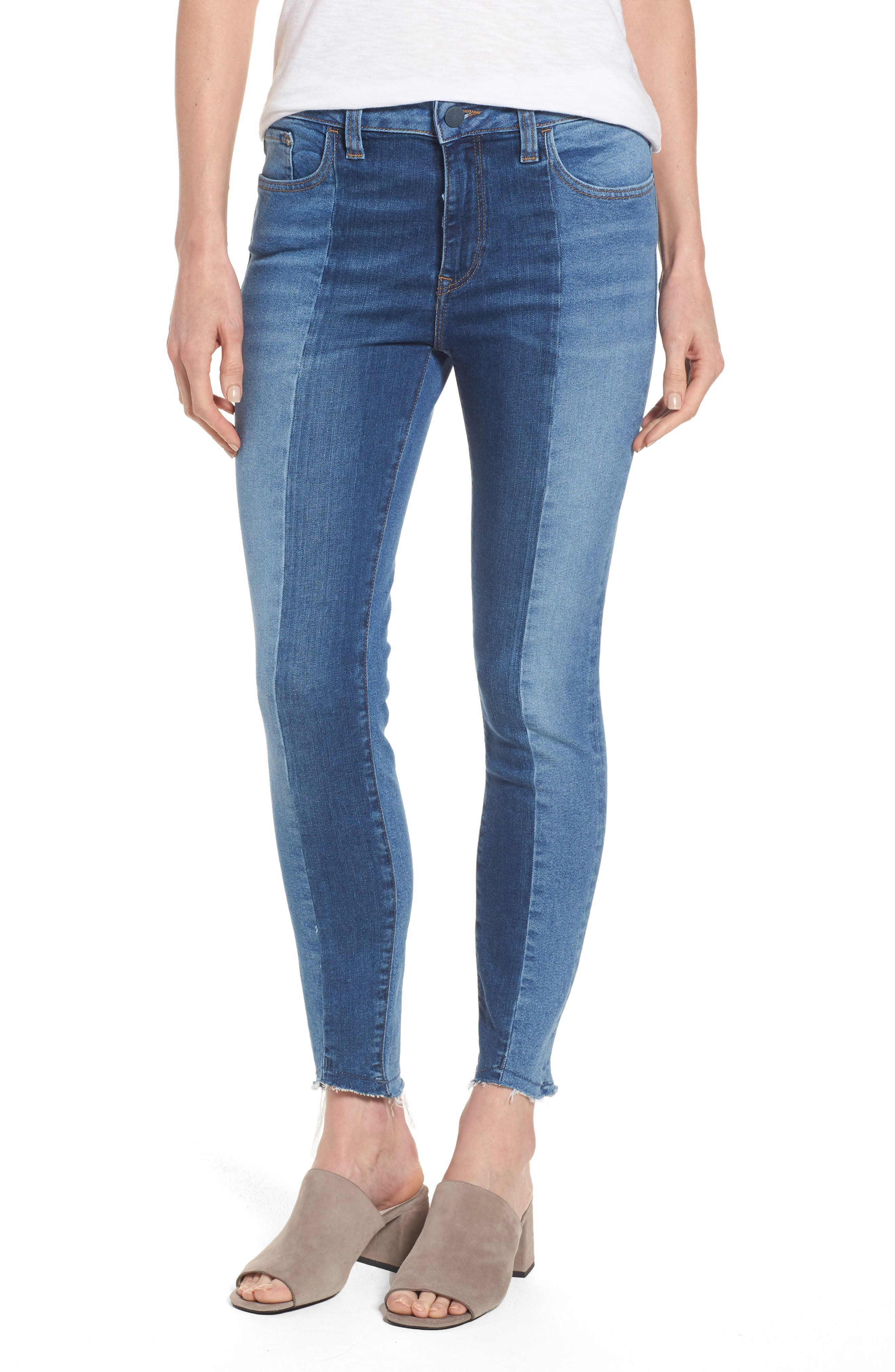 Tess Blocked Super Skinny Jeans,                         Main,                         color, Mid Shaded Blocking Gold Icon