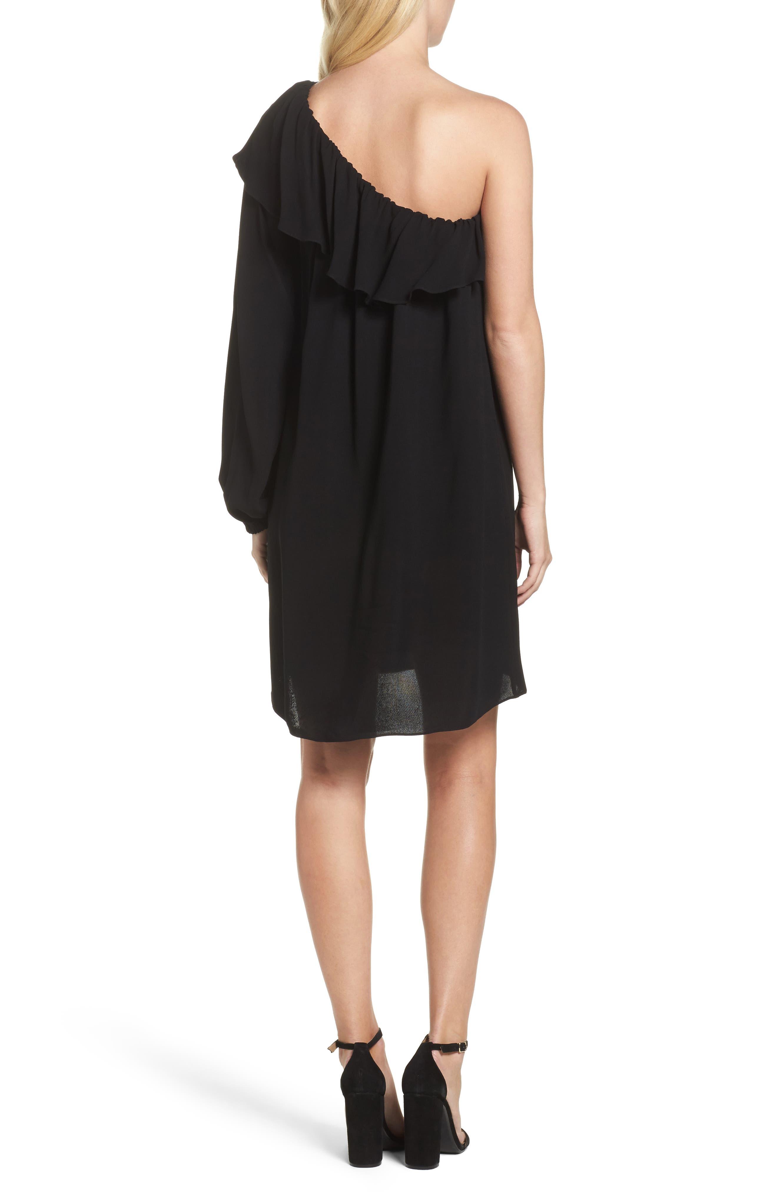 Evening Dew One-Shoulder Dress,                             Alternate thumbnail 2, color,                             Black