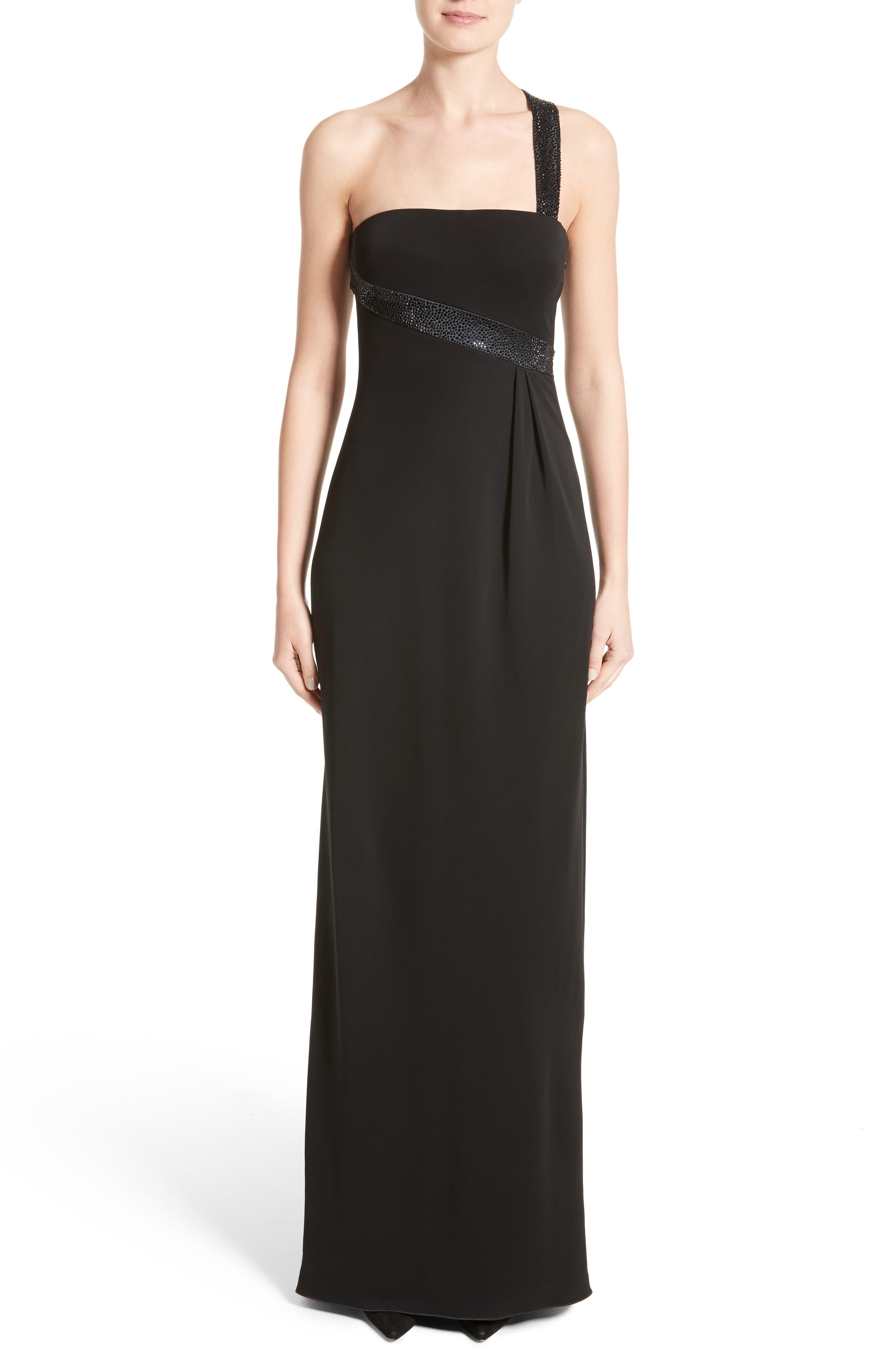 Main Image - Armani Collezioni Crystal Trim Matte Jersey Gown