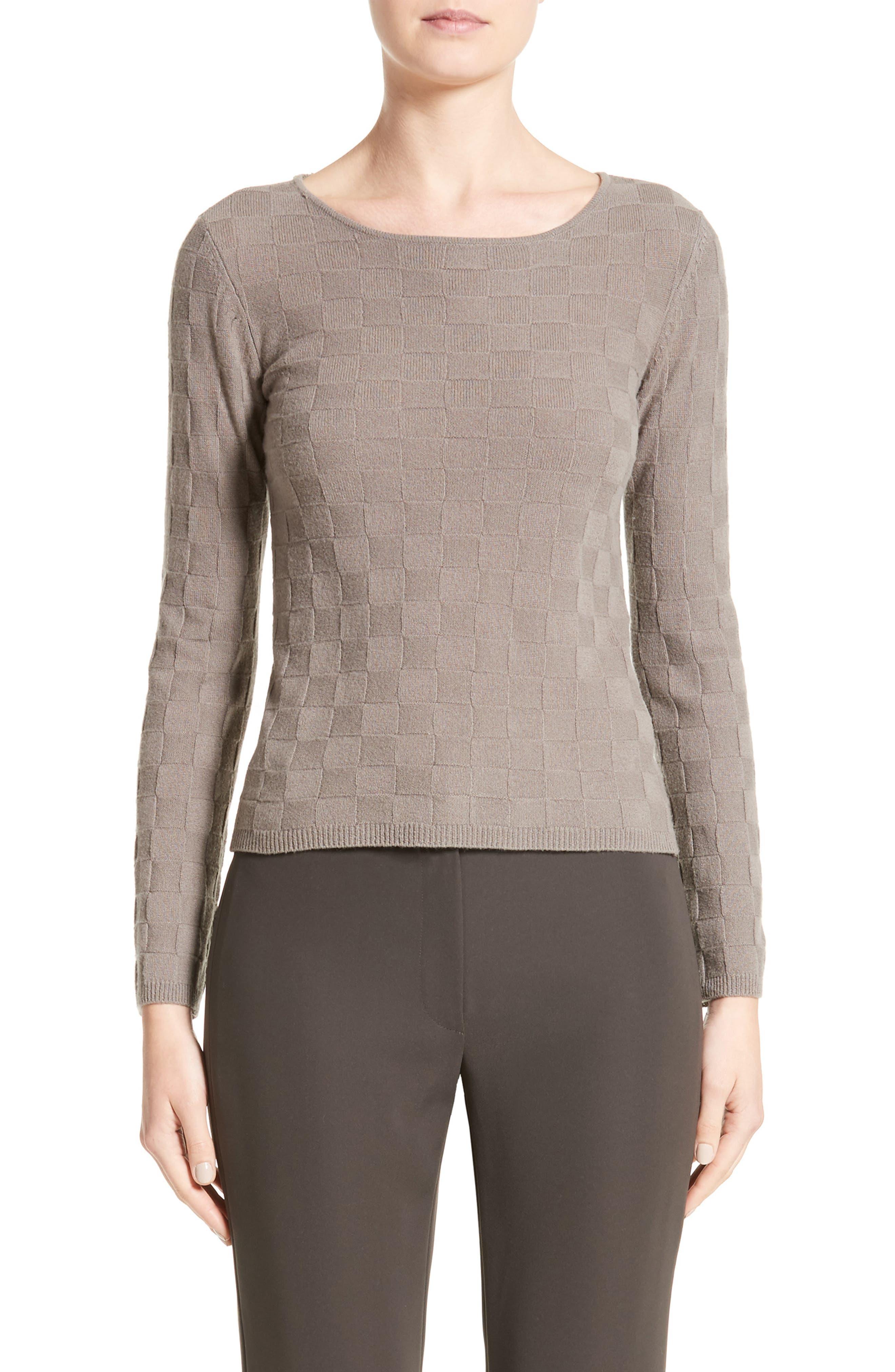 Checkerboard Cashmere Sweater,                         Main,                         color, Dark Beige