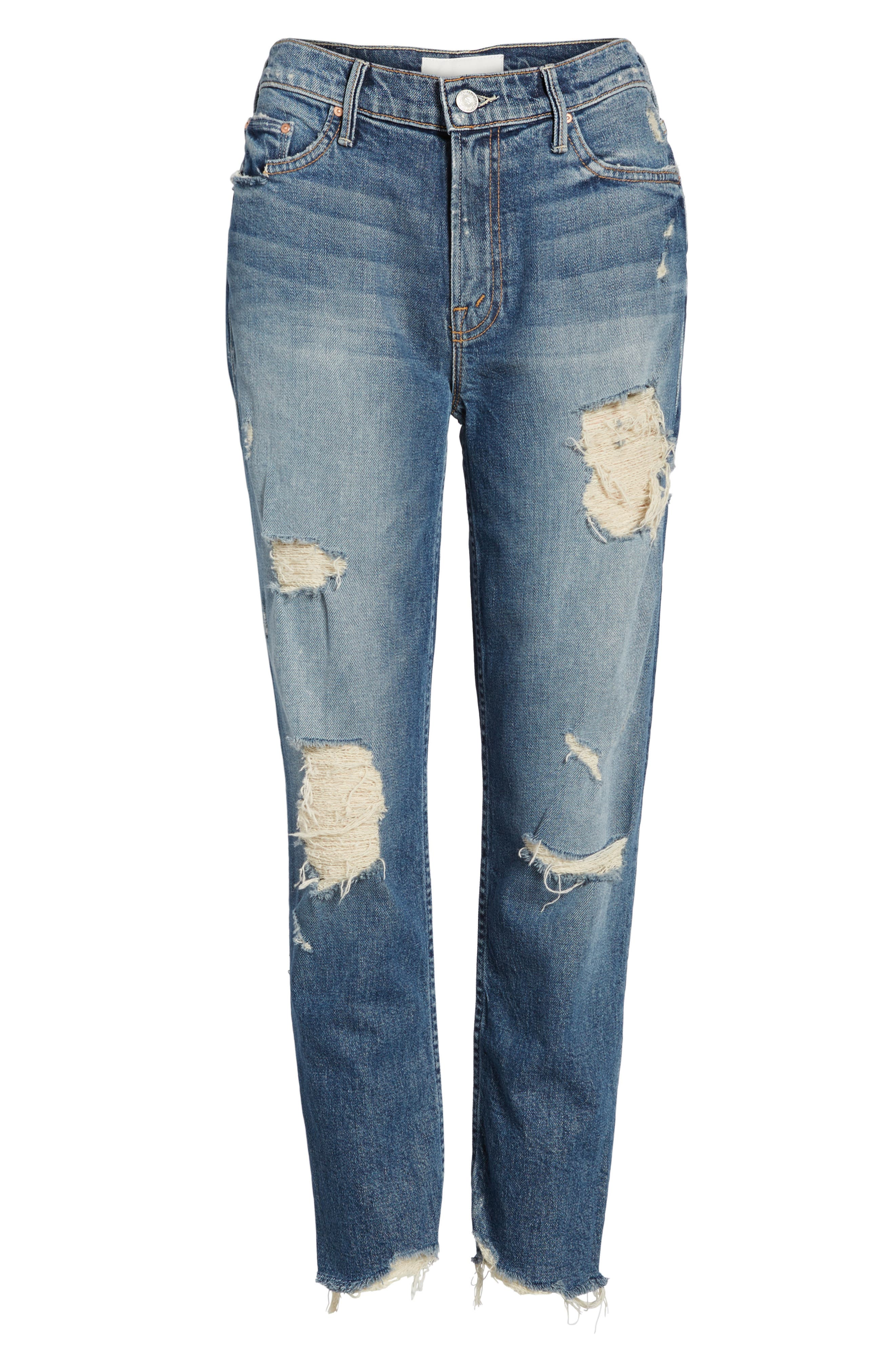 Alternate Image 6  - MOTHER The Sinner Ripped Ankle Straight Leg Jeans (Ice Scream You Scream)
