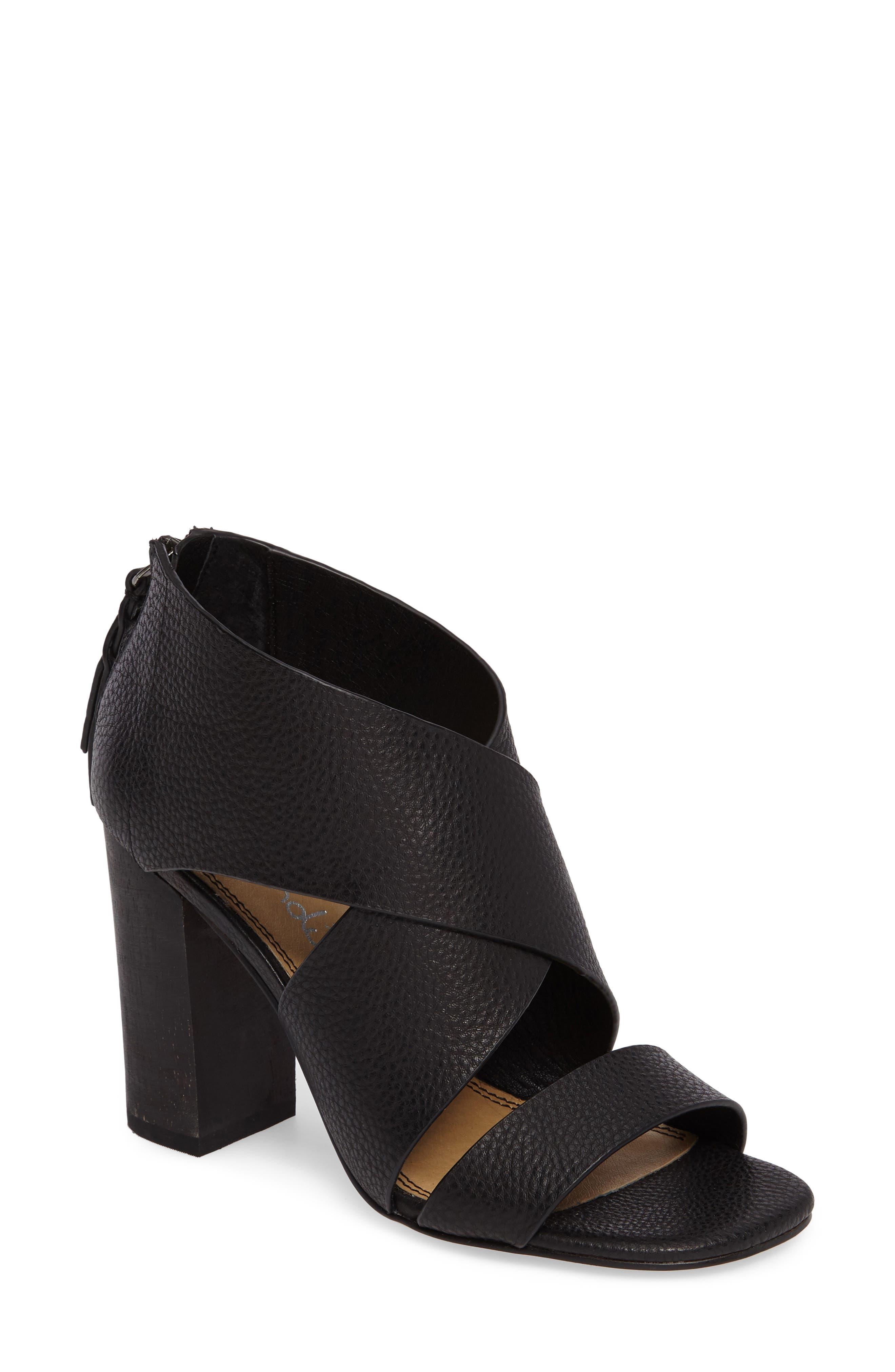 Danett Cross Strap Sandal,                             Main thumbnail 1, color,                             Black Leather