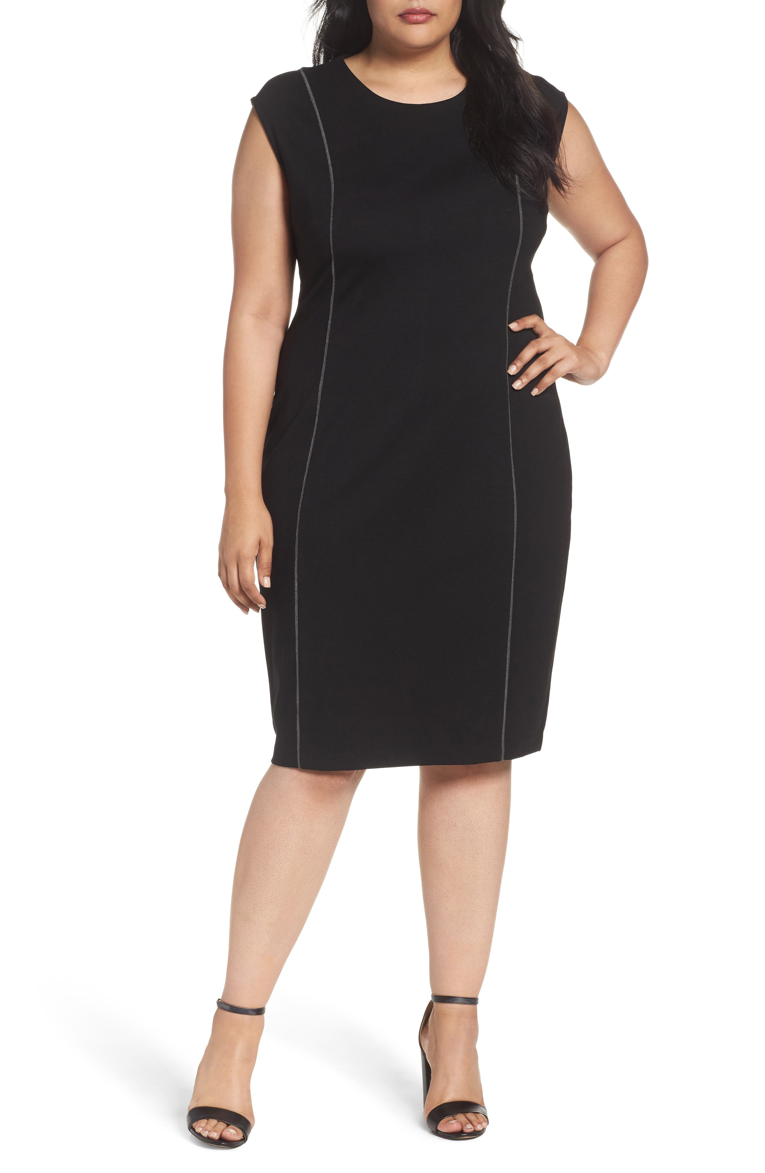 Sejour Contrast Seam Ponte Sheath Dress (Plus Size)